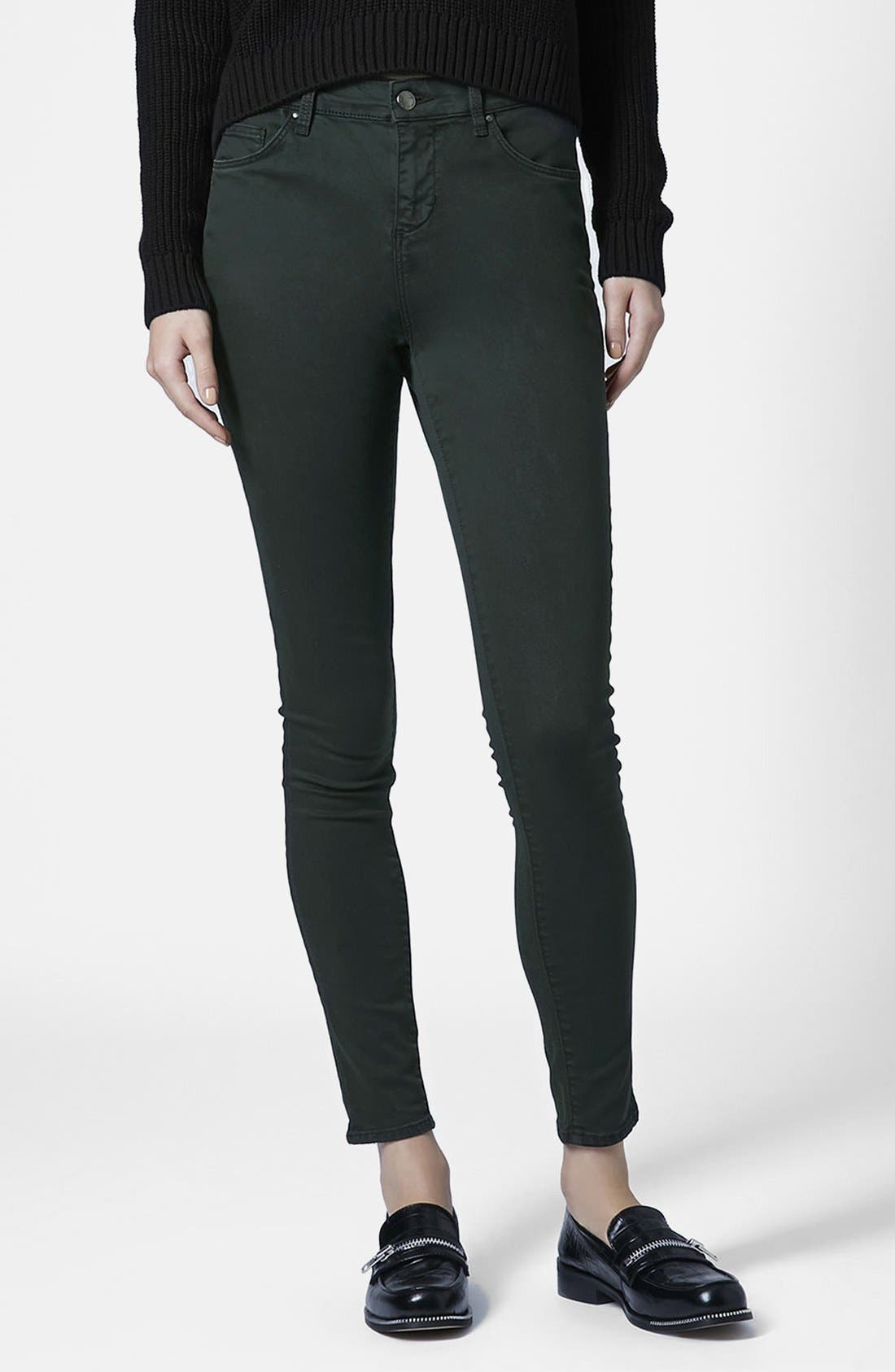 Main Image - Topshop Moto 'Leigh' Forest Jeans (Dark Green)