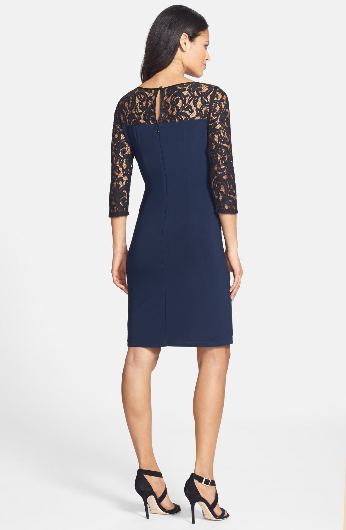 Alternate Image 2  - Adrianna Papell Lace & Jersey Shirred Sheath Dress