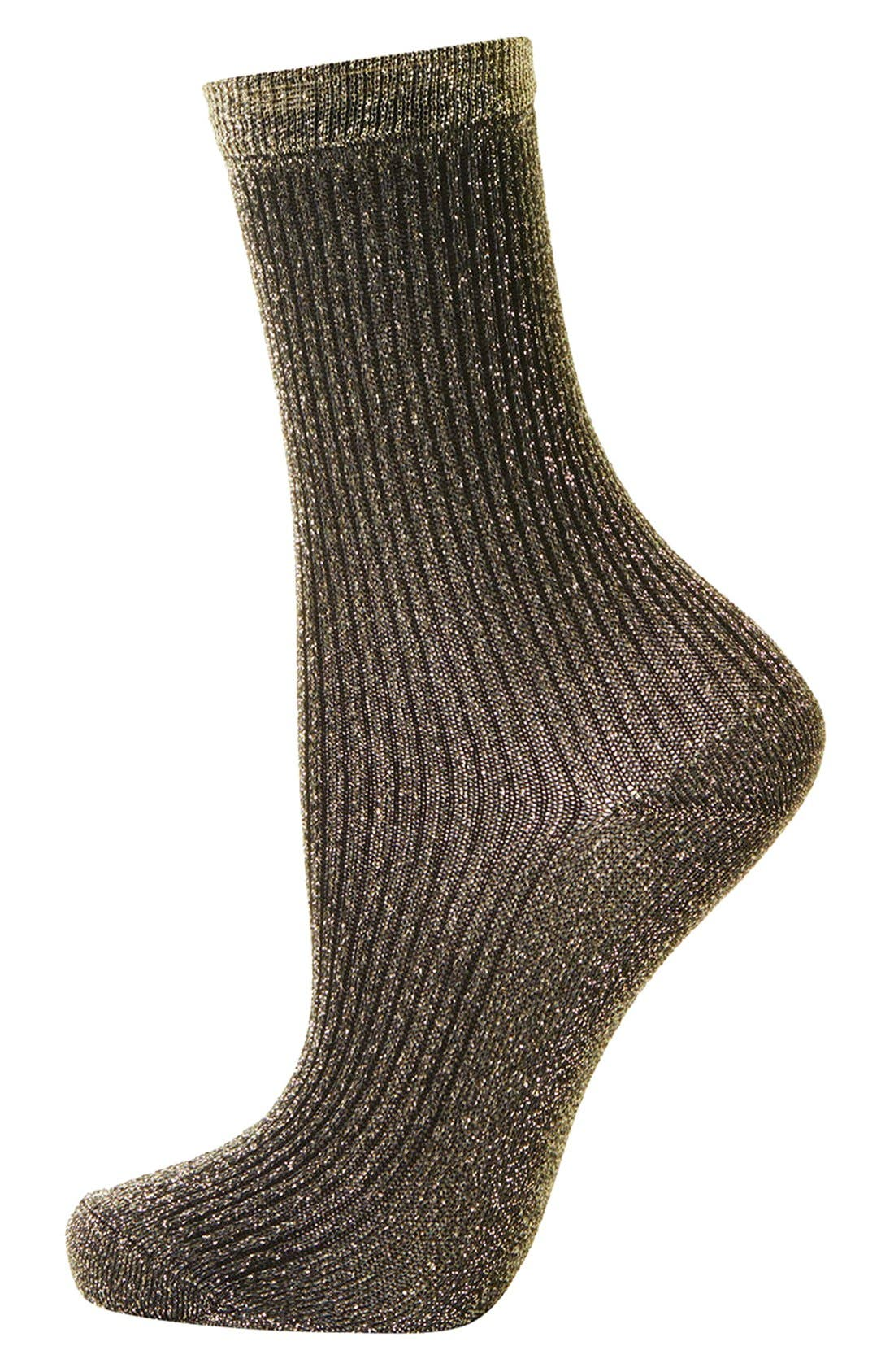 Alternate Image 1 Selected - Topshop Ribbed Glitter Ankle Socks