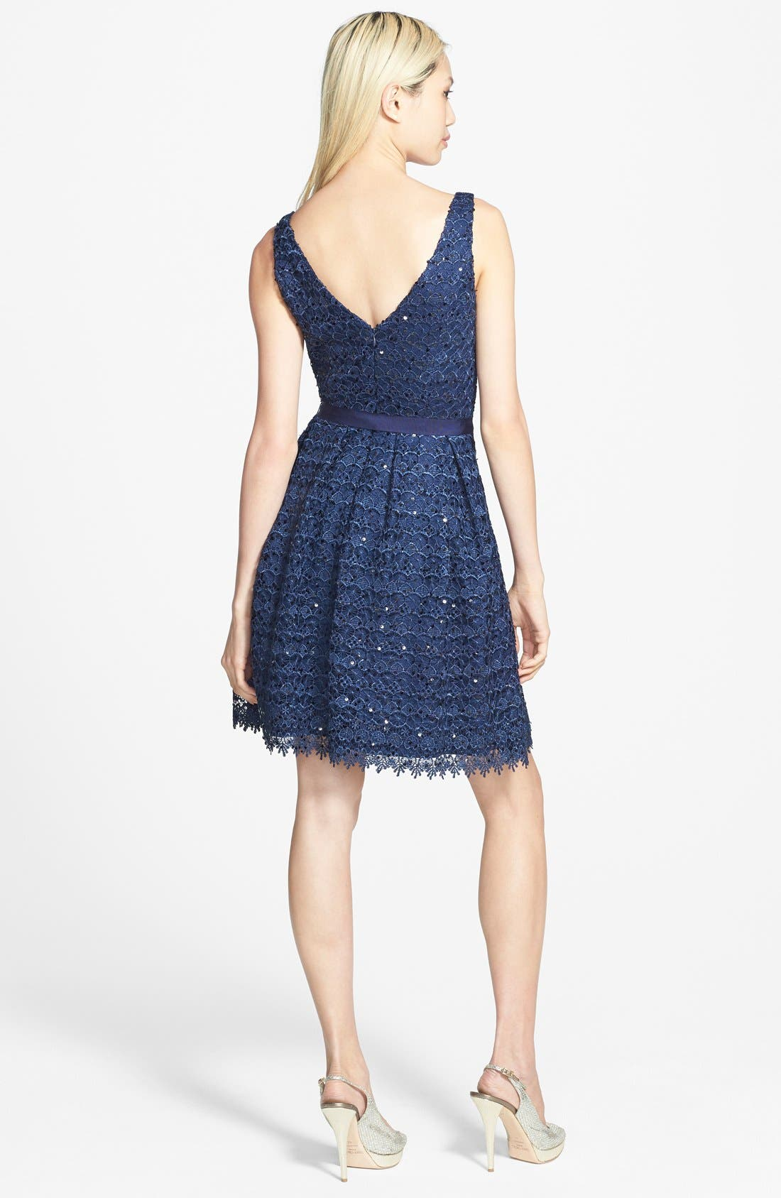 Alternate Image 2  - Hailey by Adrianna Papell Sequin Lace Fit & Flare Dress