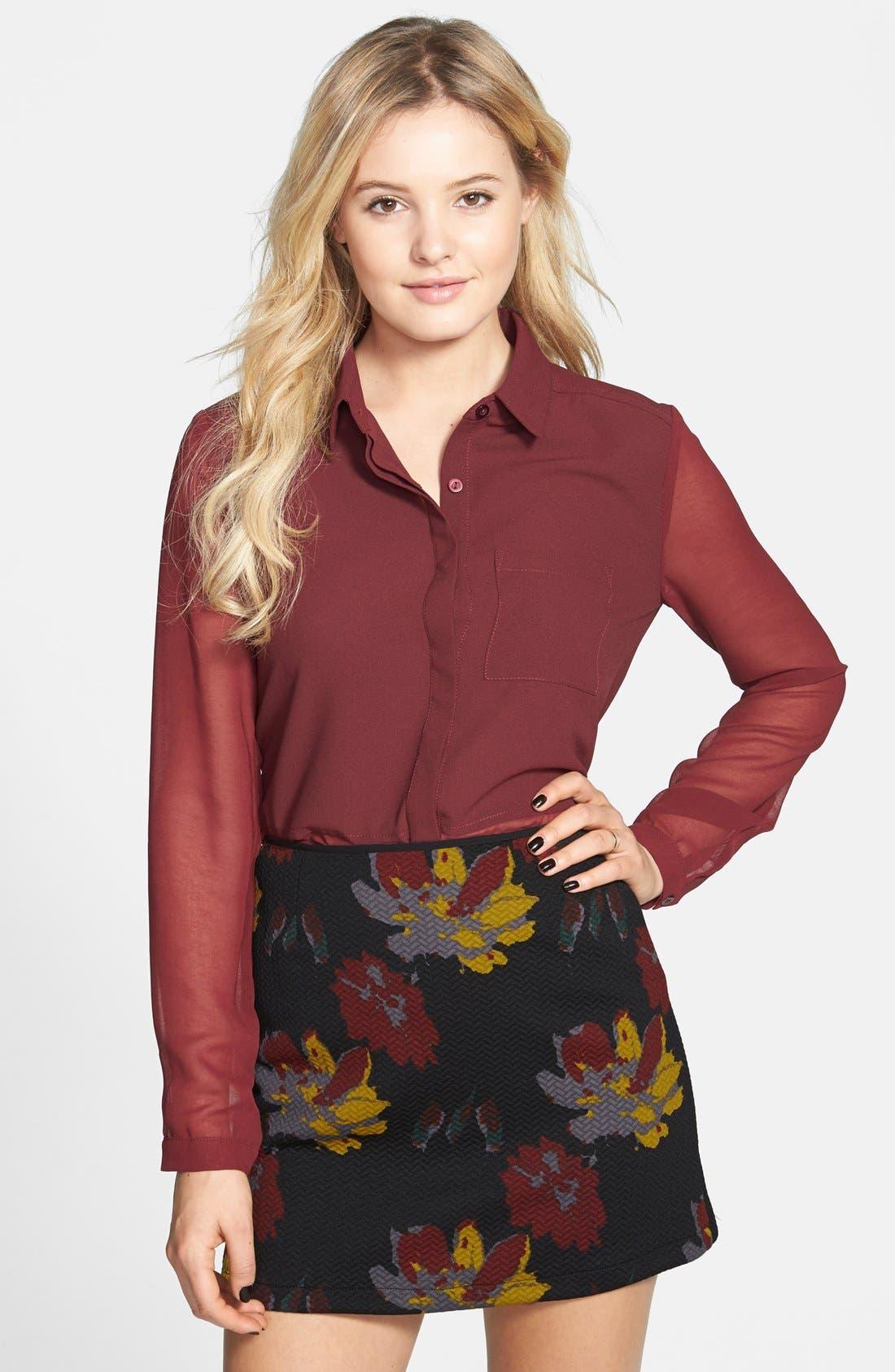 Alternate Image 1 Selected - Lush Print Textured A-Line Skirt (Juniors)