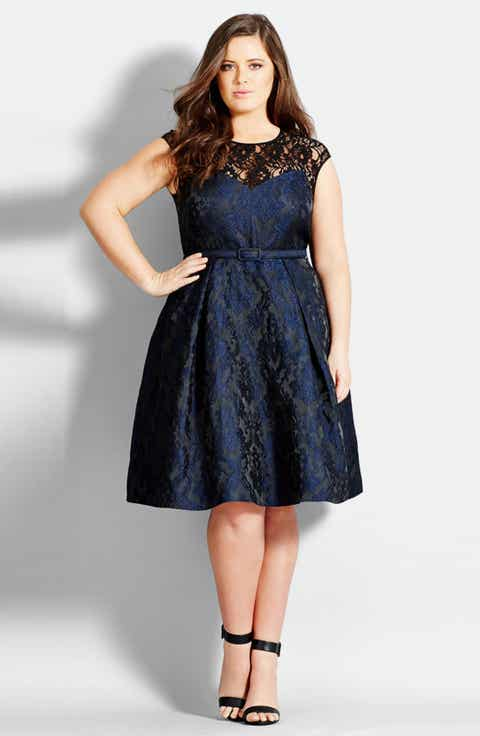 City Chic Lace Neck Brocade Dress (Plus Size)