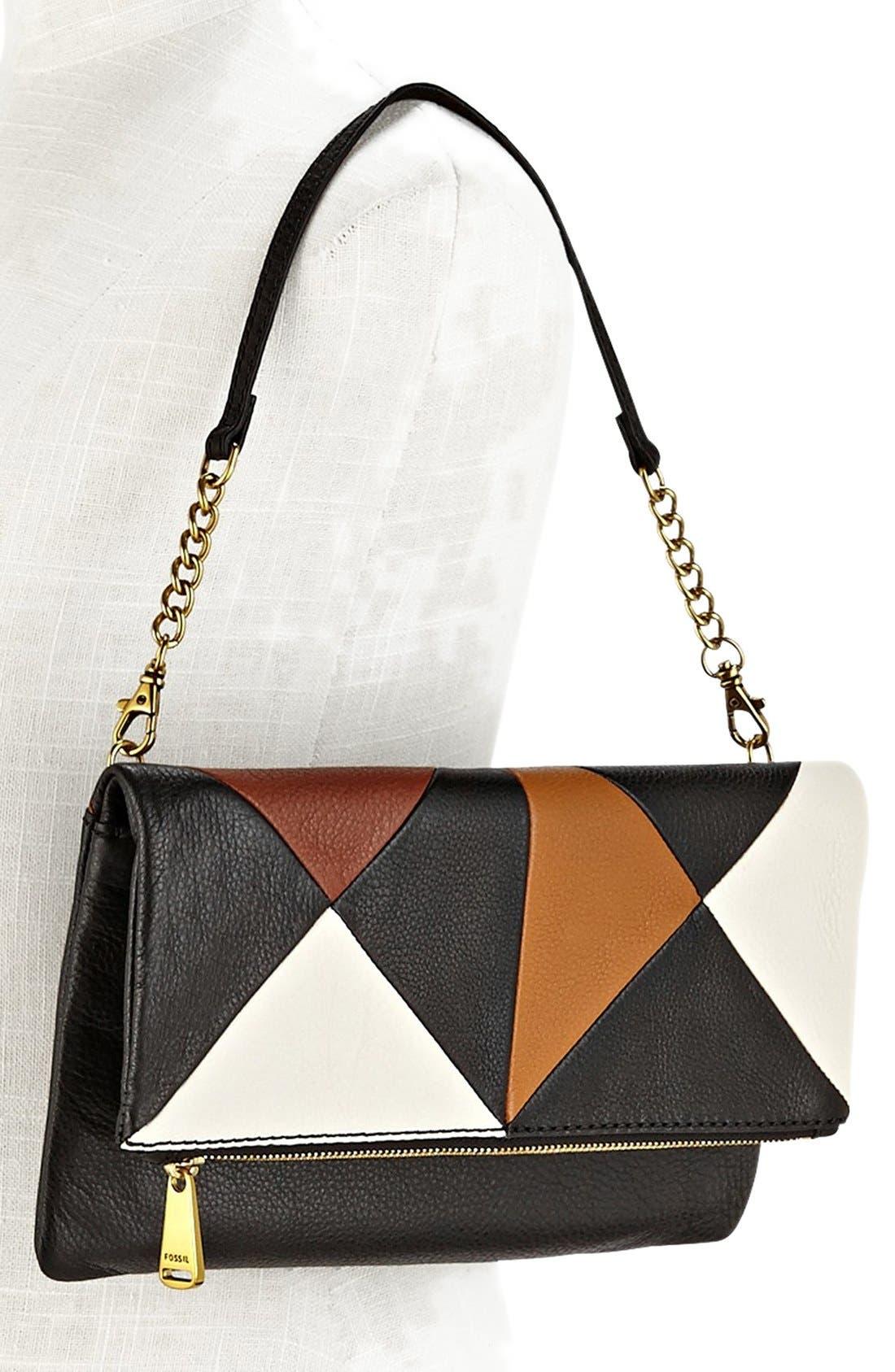 Alternate Image 4  - Fossil 'Erin' Colorblock Leather Foldover Clutch