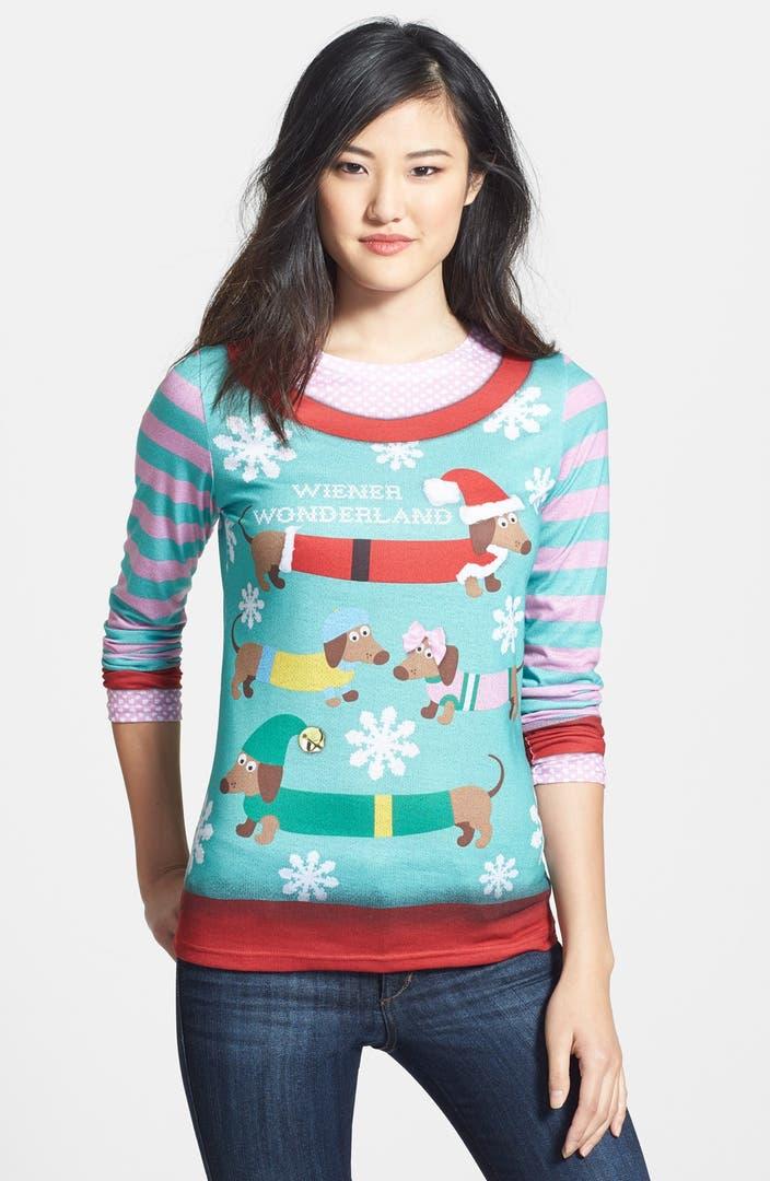 Faux Real 39 Wiener Wonderland 39 Ugly Christmas Long Sleeve