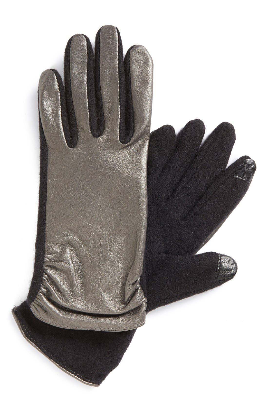 Main Image - Echo 'Touch - Ruched Leather Mix' Gloves