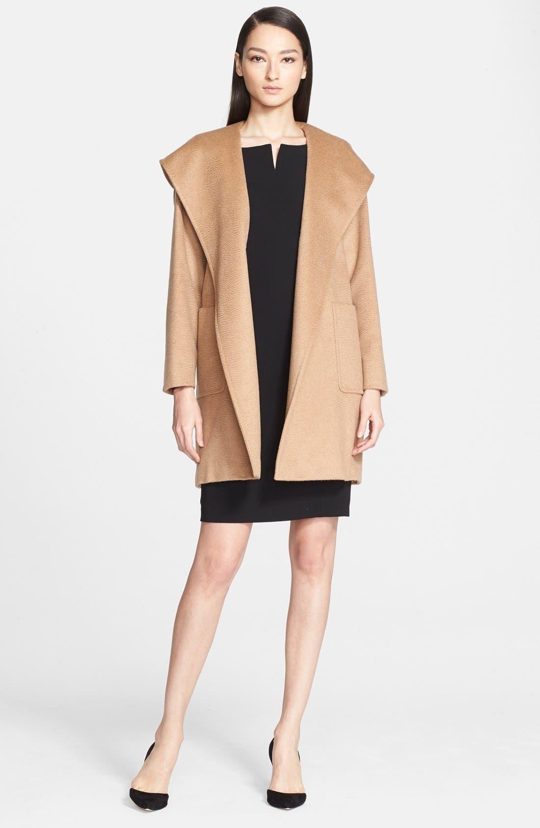 Main Image - Max Mara 'Rialto' Hooded Camel Hair Wrap Coat