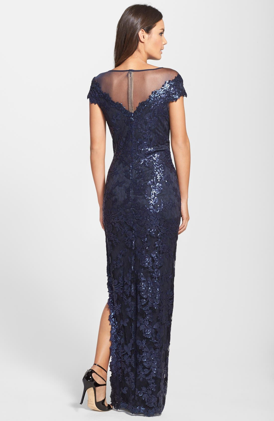 Alternate Image 2  - Tadashi Shoji Cap Sleeve Sequin Lace Embroidered Gown