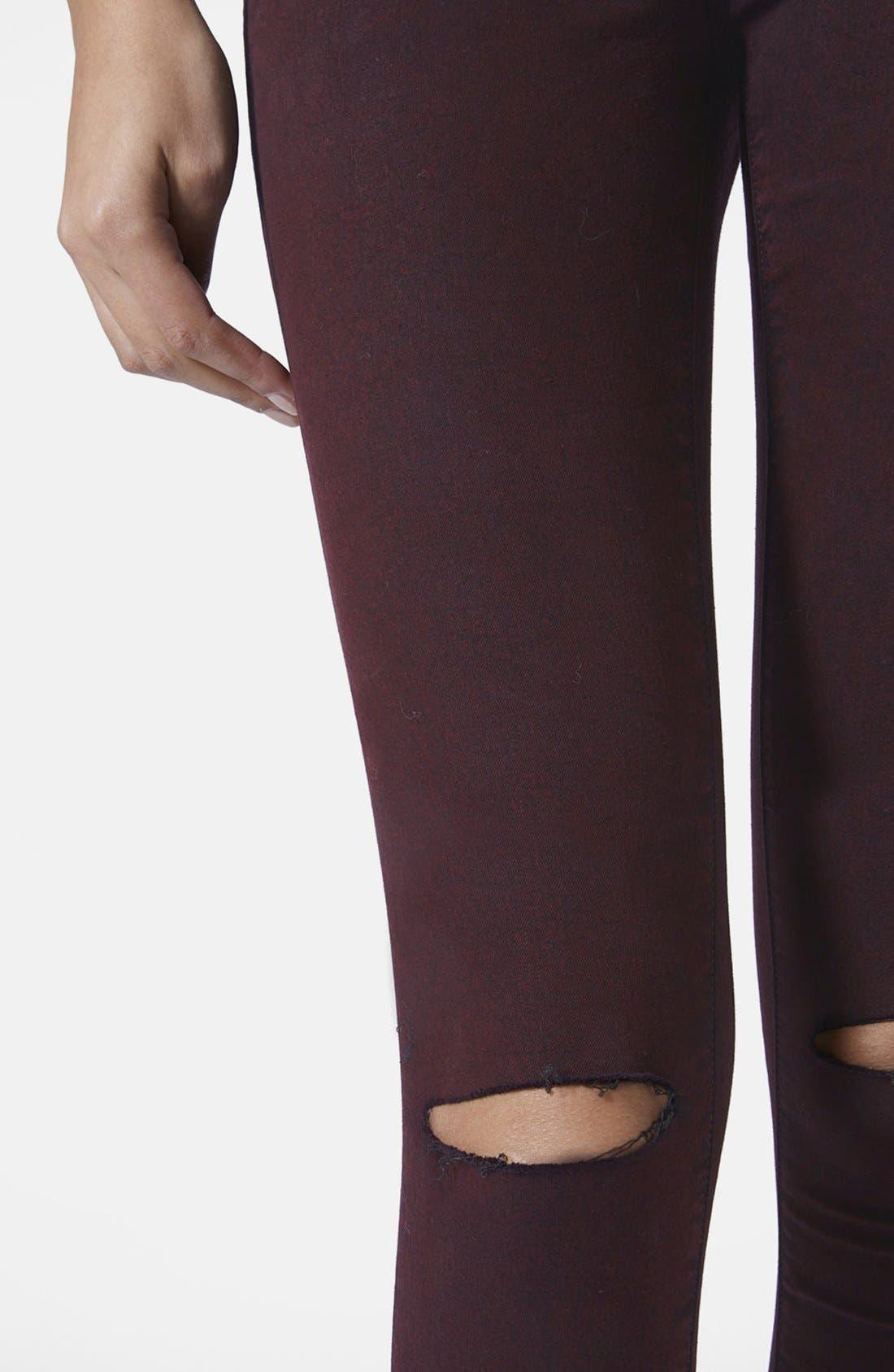 Alternate Image 4  - Topshop Moto Destructed Ultra Skinny Jeans (Purple) (Regular, Short & Long)