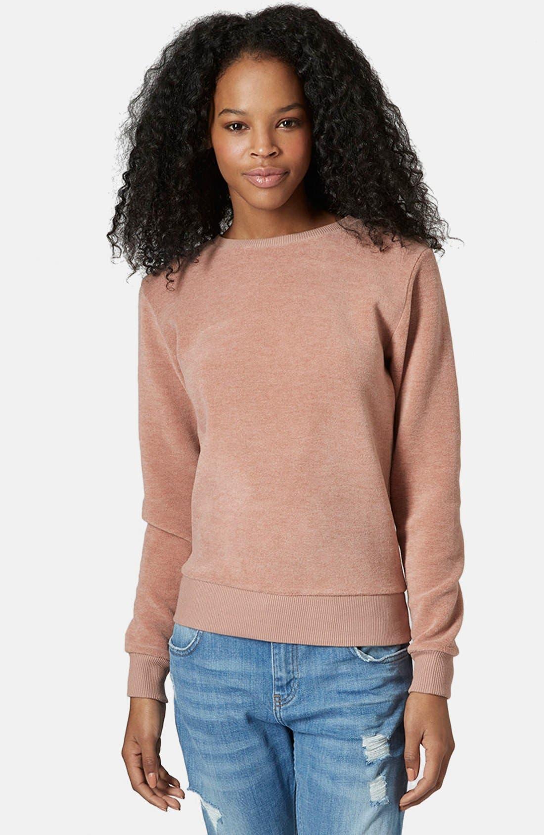 Alternate Image 1 Selected - Topshop Fleece Crewneck Sweater