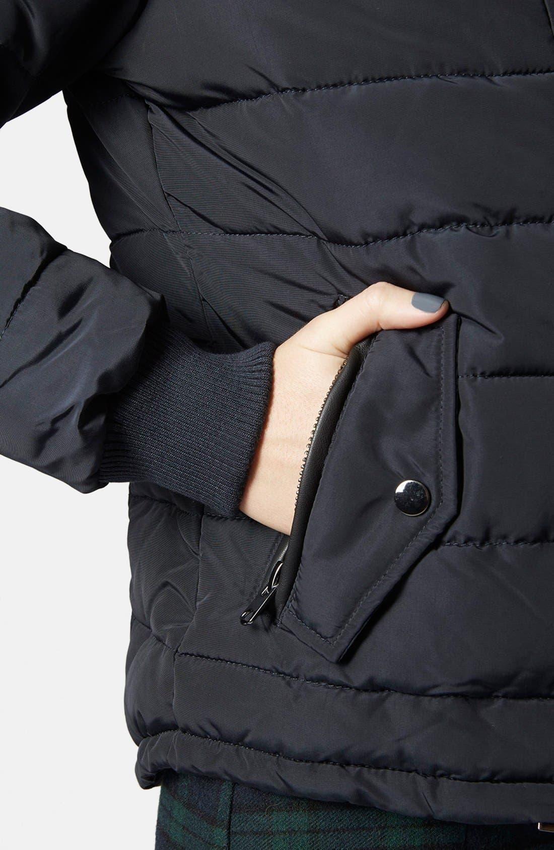 Alternate Image 4  - Topshop Faux Fur Trim Puffer Jacket