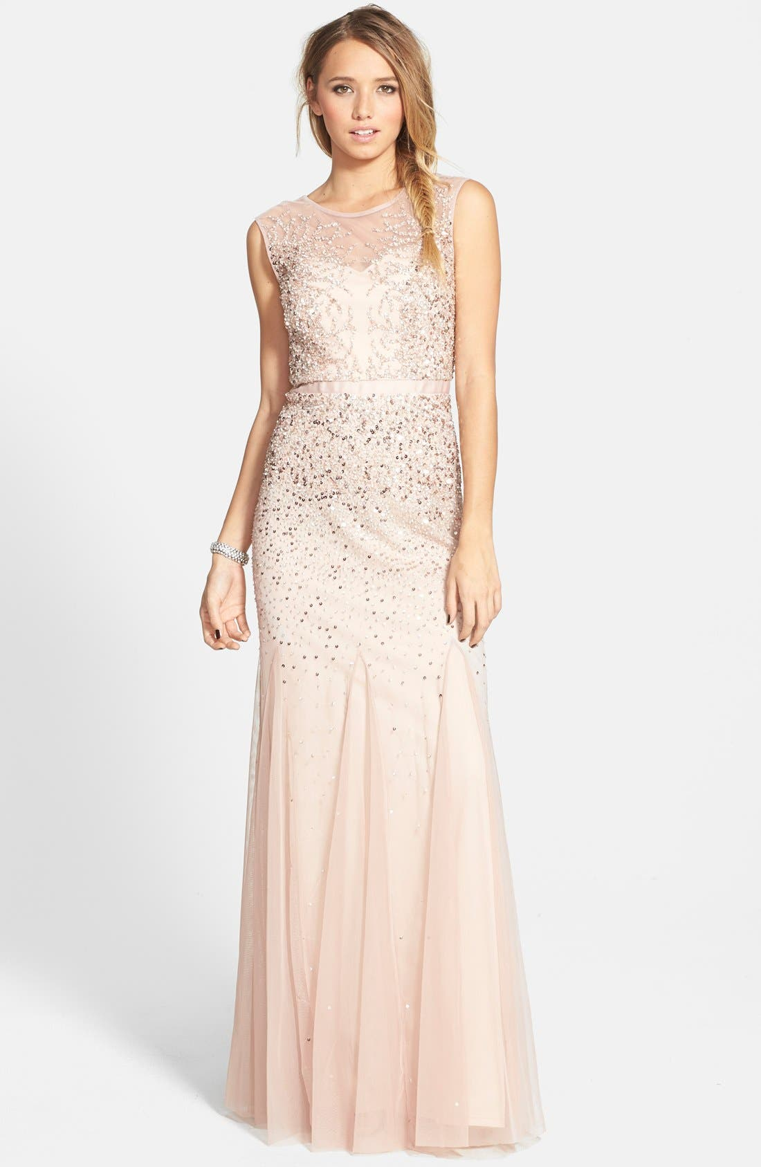 Main Image - Adrianna Papell Beaded Chiffon Gown (Regular & Petite)