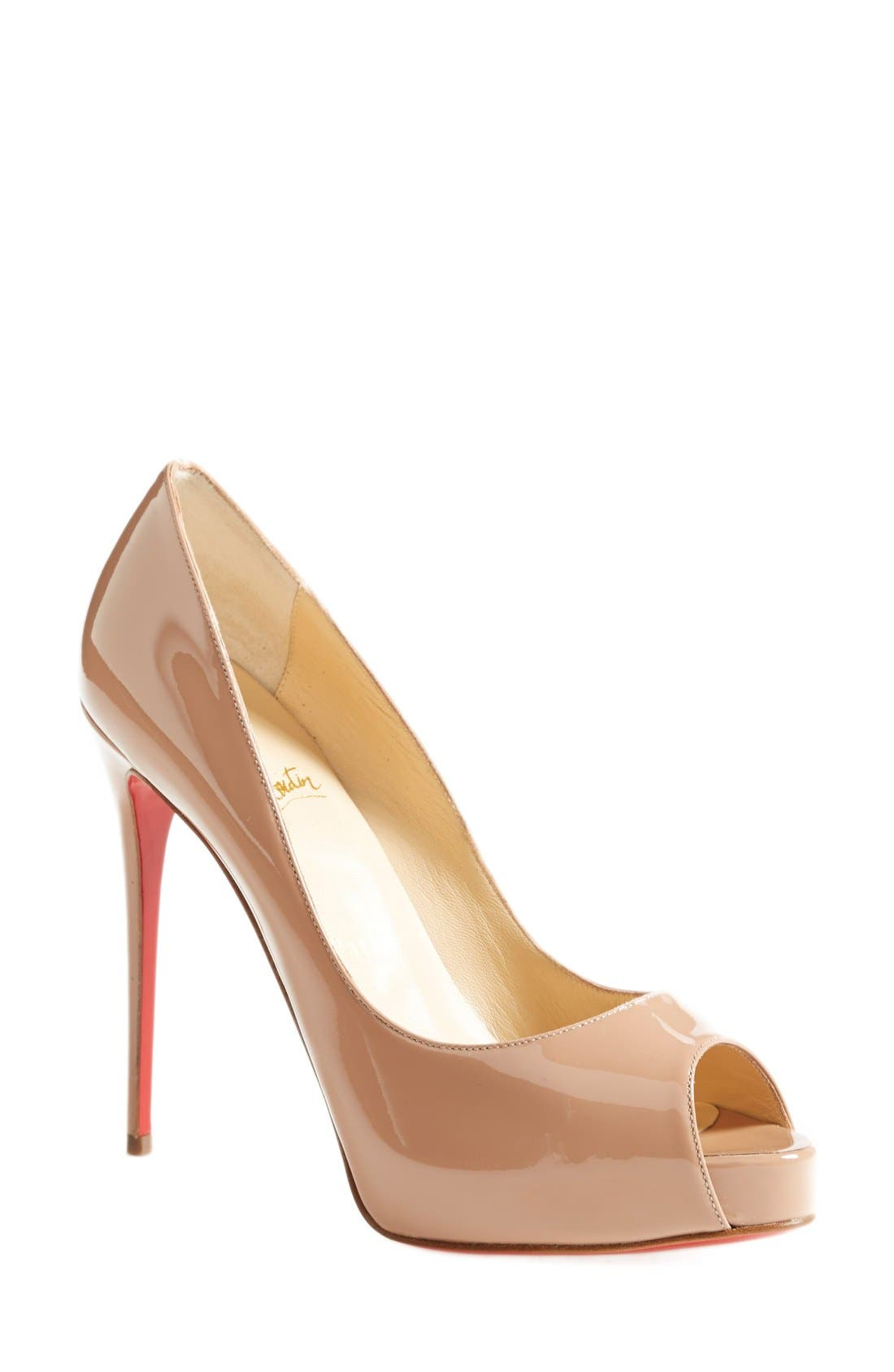 christian louboutin fifi 100mm lace pumps nude black. Black Bedroom Furniture Sets. Home Design Ideas