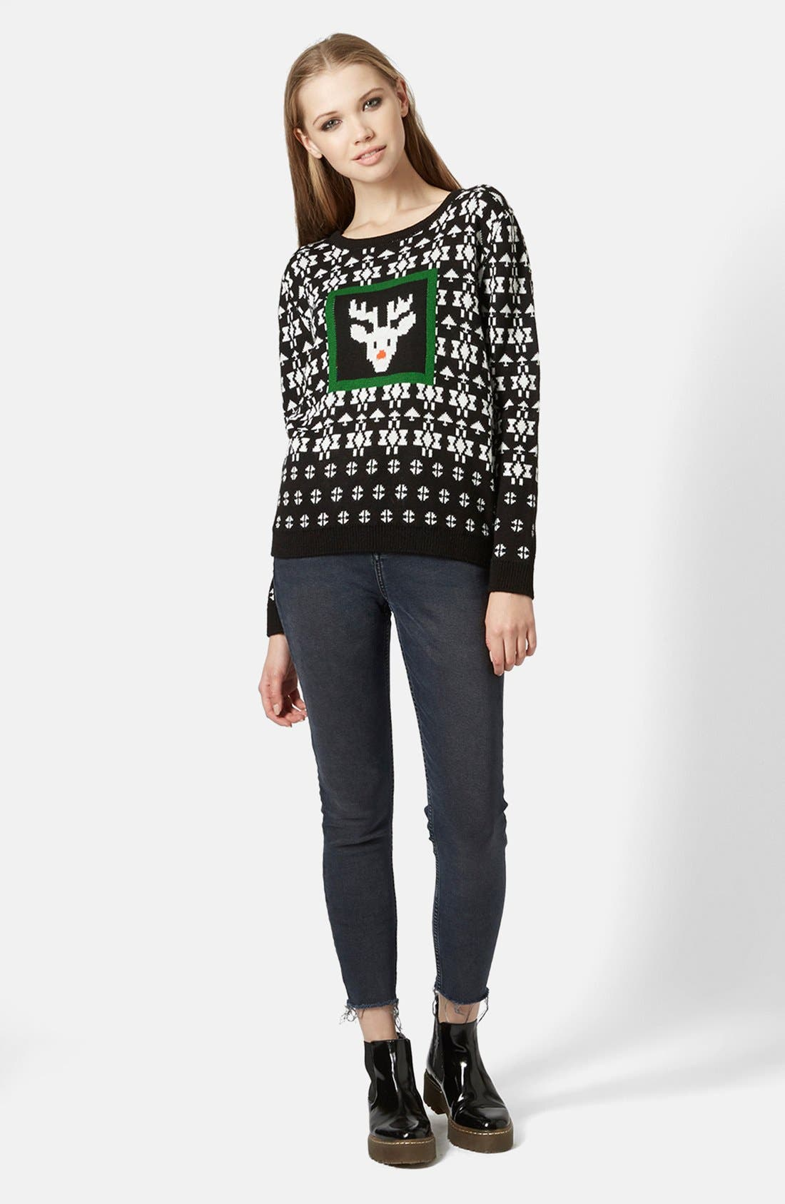 Alternate Image 1 Selected - Topshop Rudolph Fair Isle Sweater