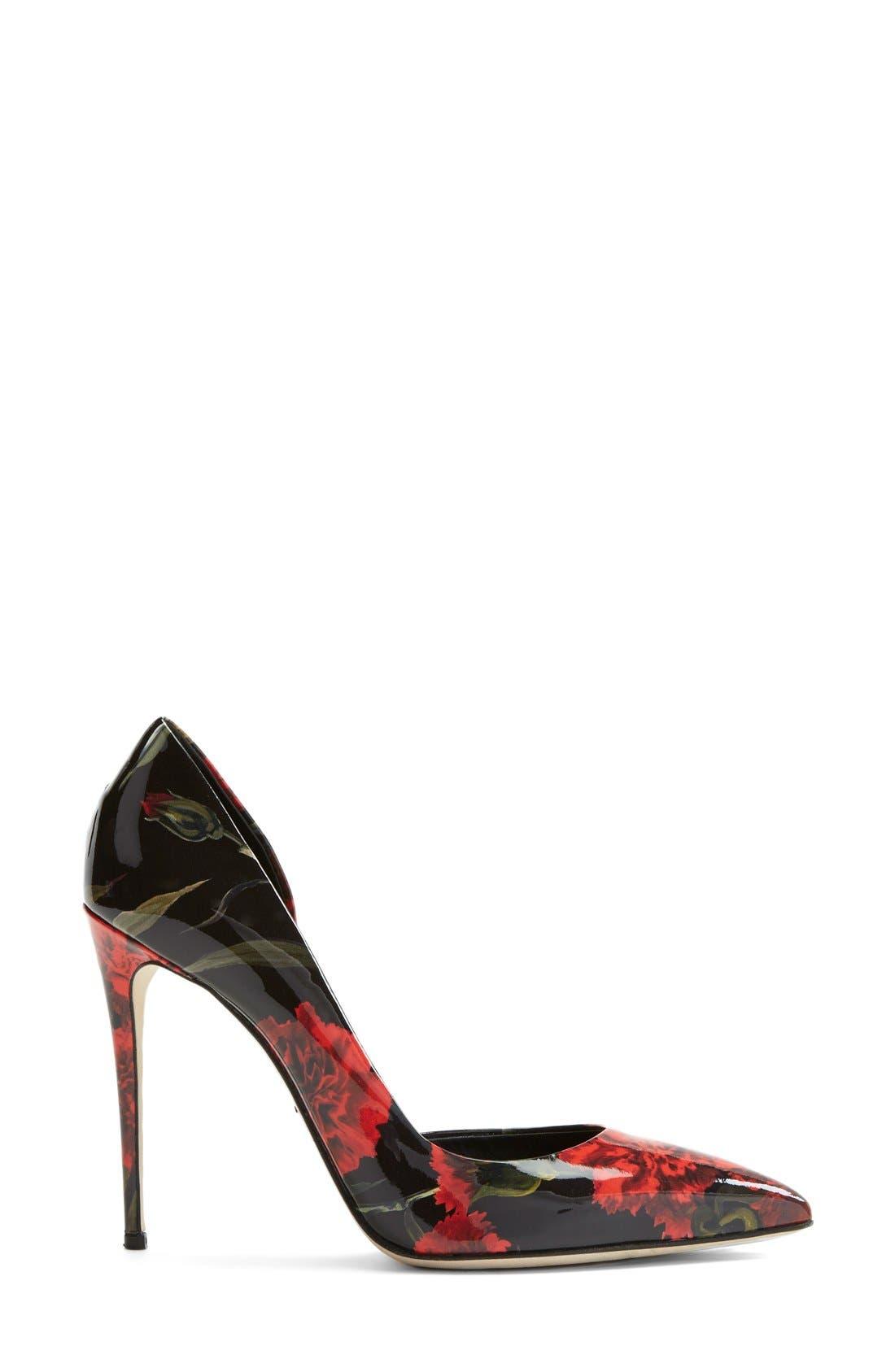 Alternate Image 4  - Dolce&Gabbana Floral Print Patent Leather Half d'Orsay Pump (Women)