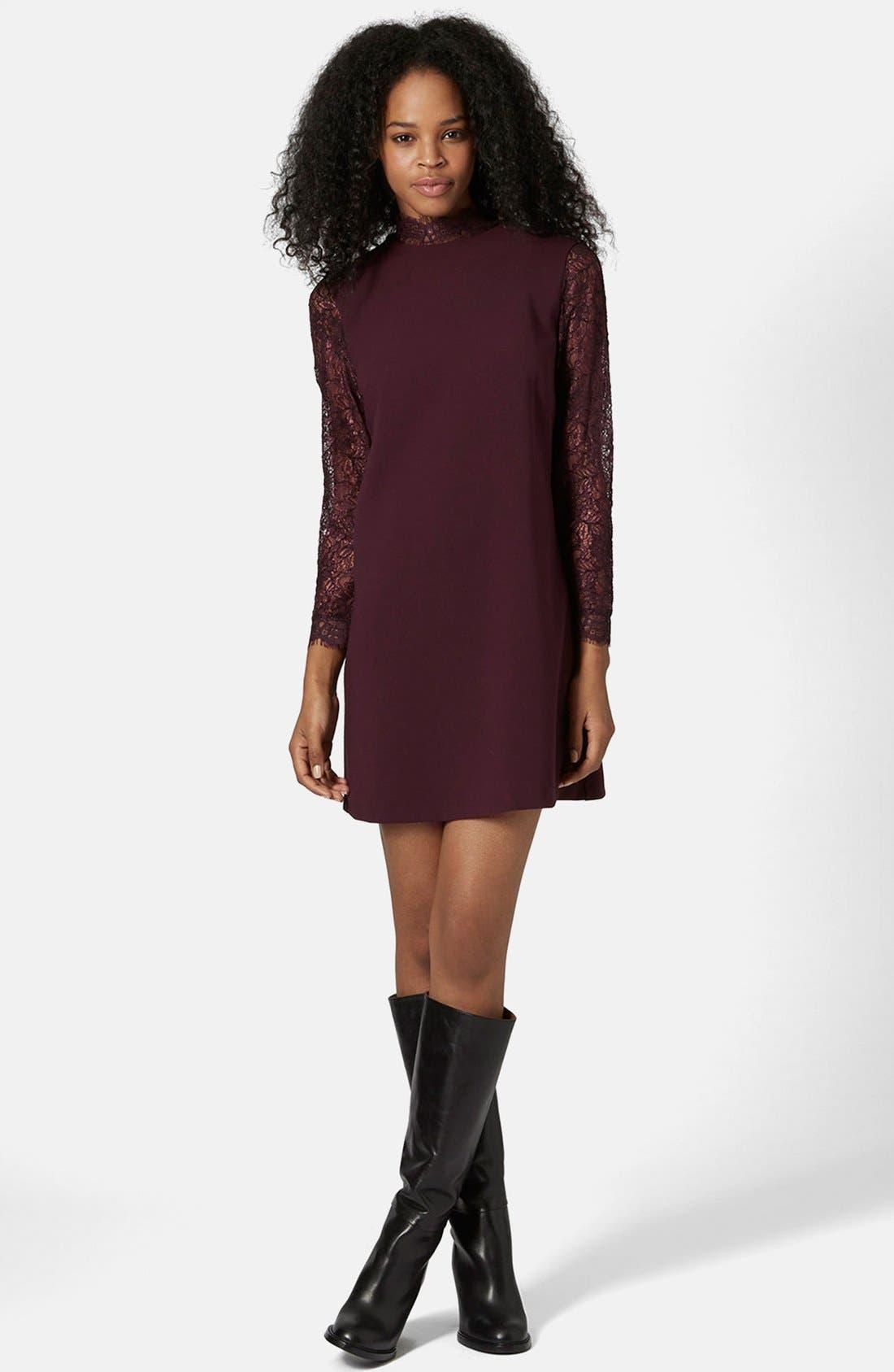 Alternate Image 1 Selected - Topshop Mock Neck Shift Dress