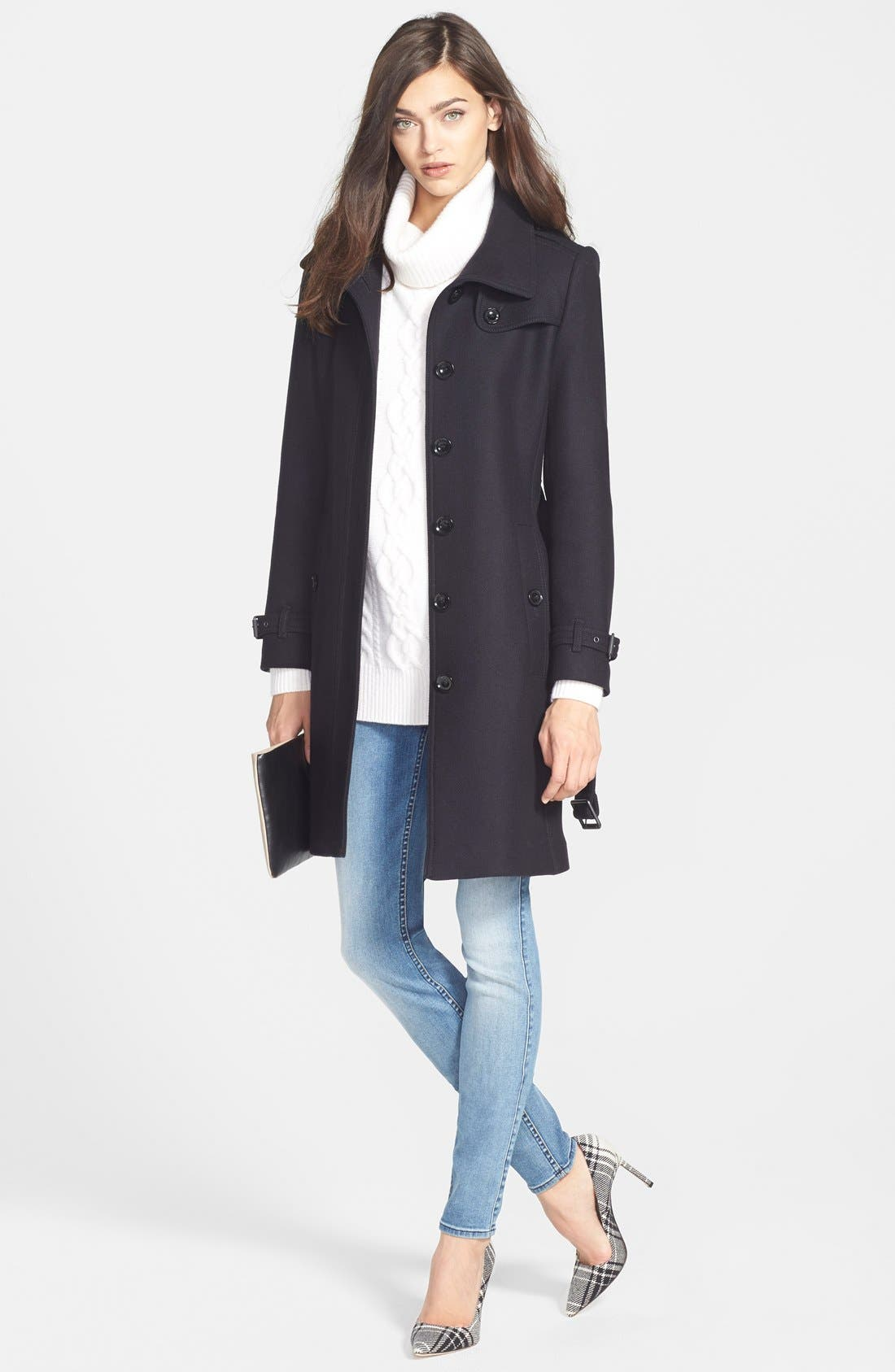 Alternate Image 4  - Burberry Brit 'Rushfield' Wool Blend Stand Collar Coat