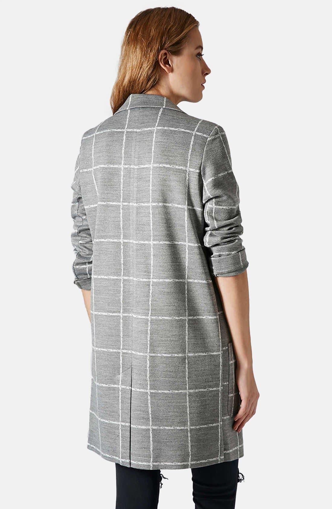 Alternate Image 2  - Topshop Grid Check Slim Coat