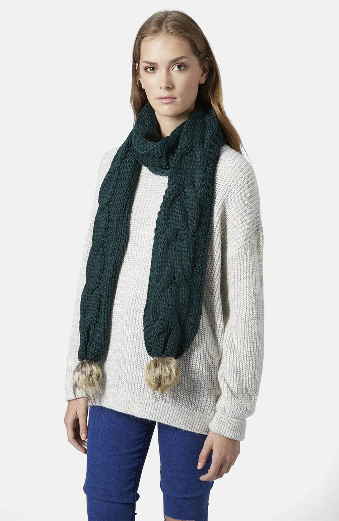 Alternate Image 2  - Topshop Cable Knit Scarf with Faux Fur Poms
