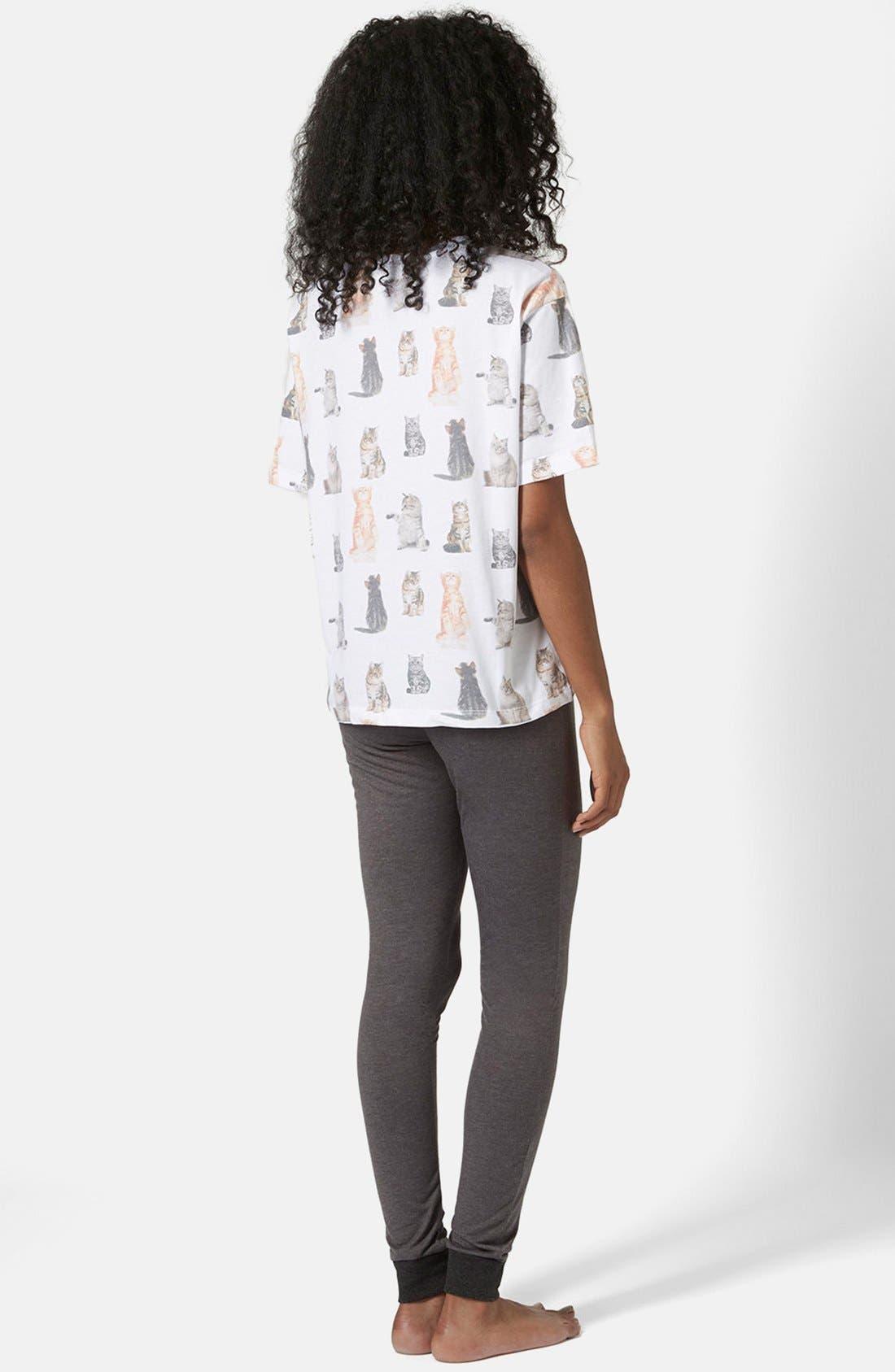 Alternate Image 2  - Topshop Cat Print Pajama Set