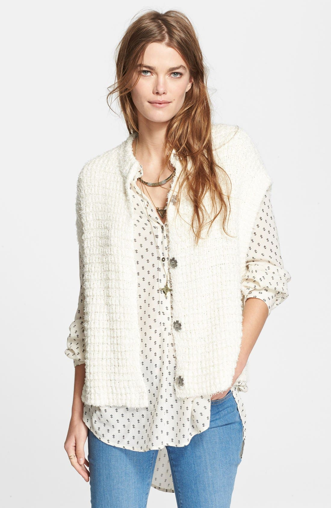 Main Image - Free People 'Stockholm Snap' Short Sleeve Cardigan