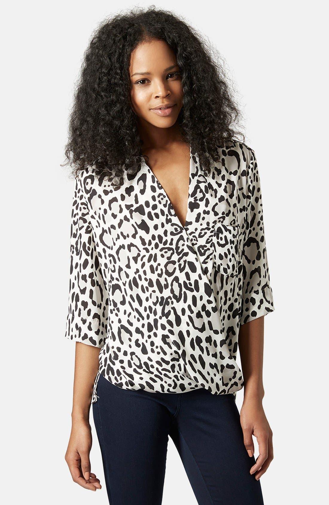 Alternate Image 1 Selected - Topshop Leopard Print Surplice Top