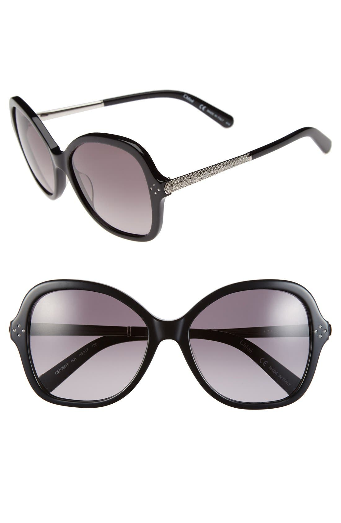 Main Image - Chloé 'Boxwood' 55mm Crystal Square Sunglasses