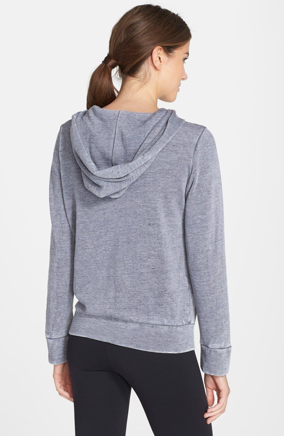 Alternate Image 2  - Monrow Burnout Zip Front Hoodie