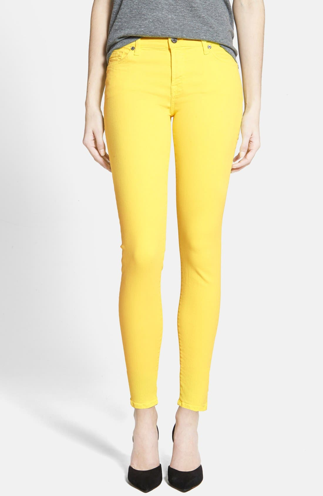 Main Image - 7 For All Mankind® 'The Ankle Skinny' Jeans (Blazing Yellow)