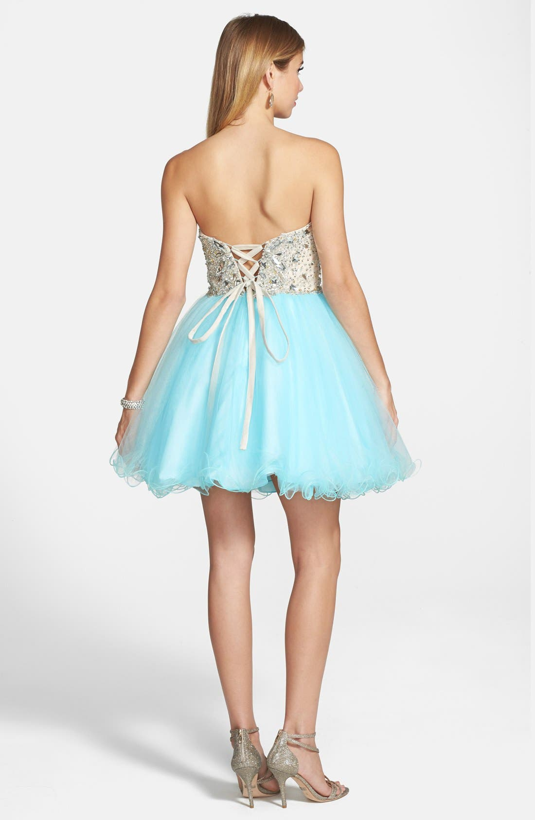 Alternate Image 2  - Terani Couture Embellished Tulle Strapless Fit & Flare Dress