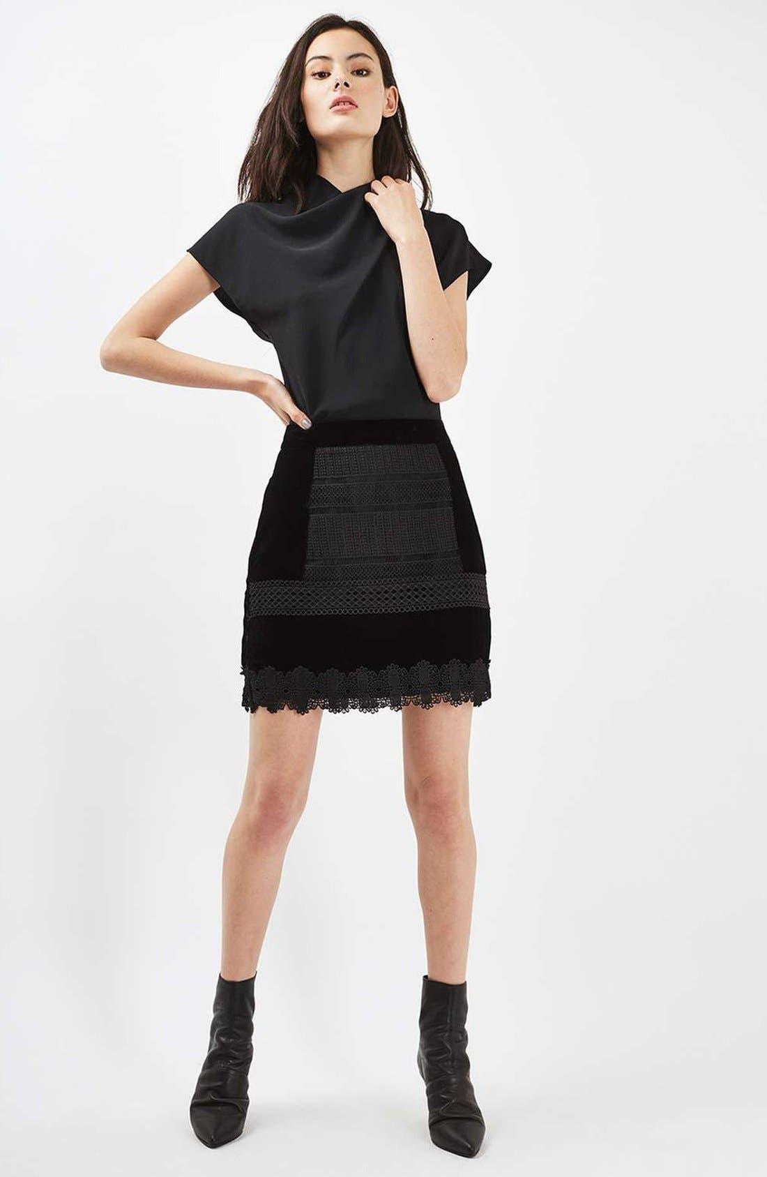 Alternate Image 2  - Topshop Velvet & Lace Miniskirt
