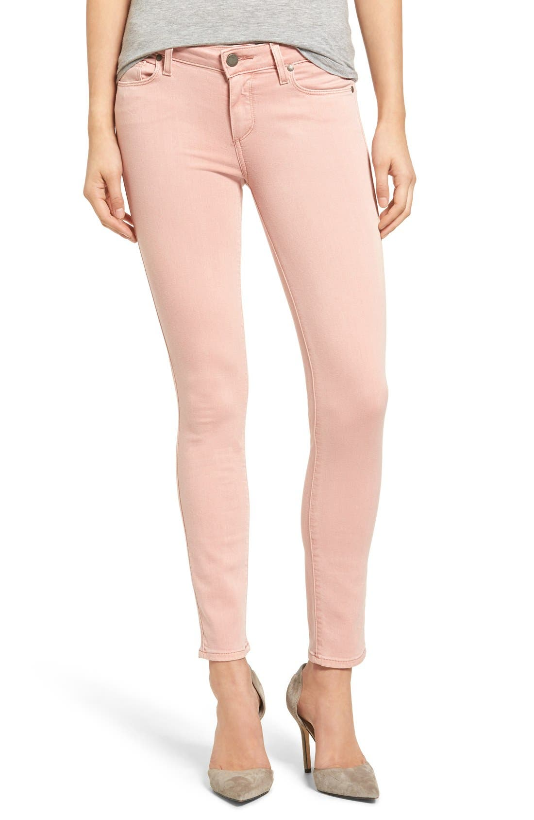 PAIGE Transcend - Verdugo Ankle Skinny Jeans (Faded Petal Pink)
