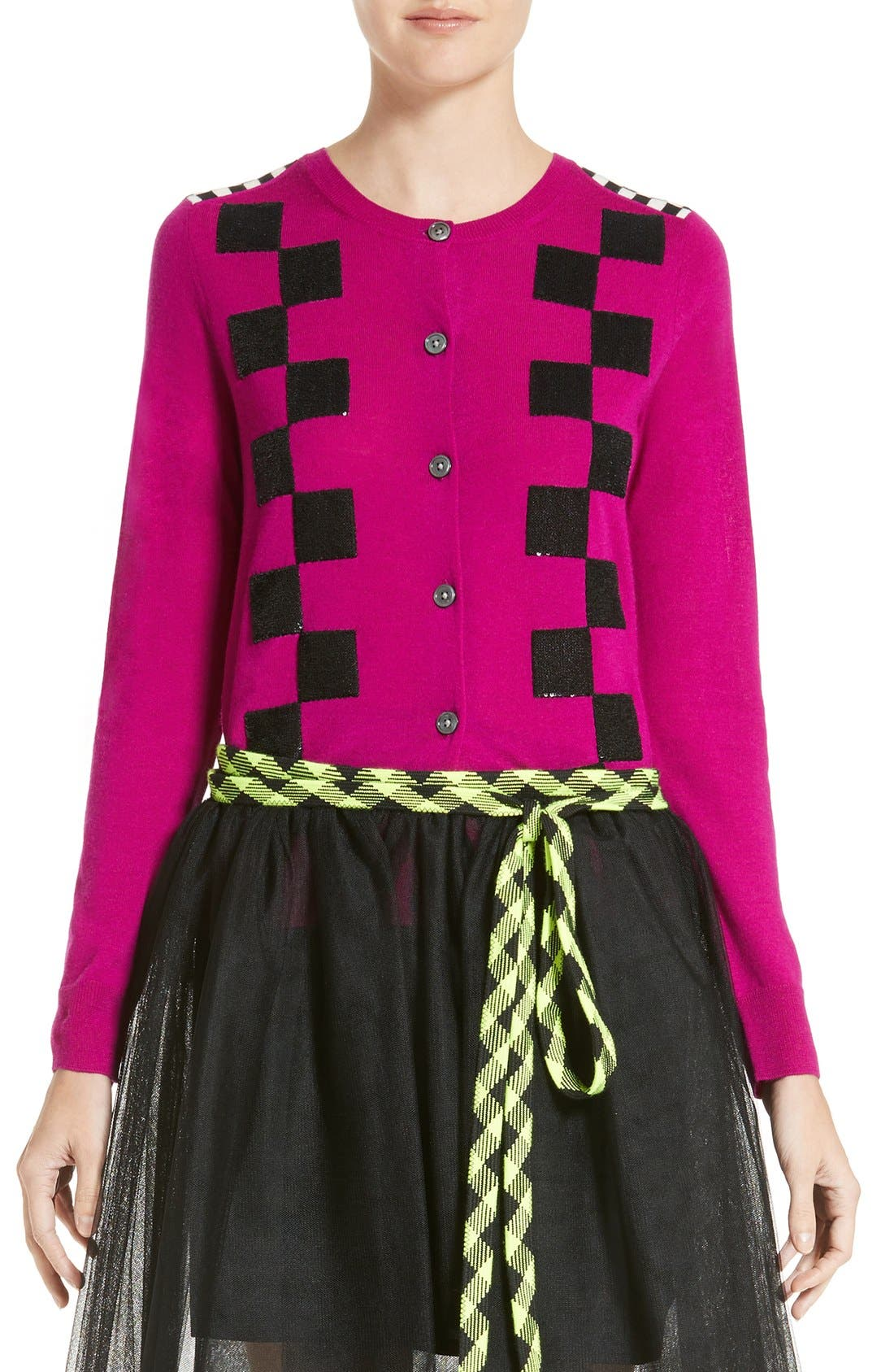 MARC JACOBS Checker Merino Wool Cardigan