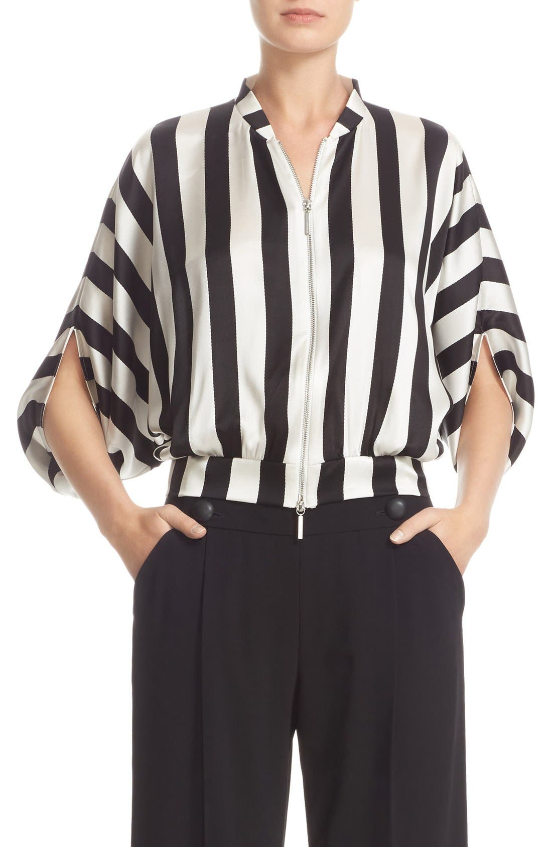 ARMANI COLLEZIONI Armani Jeans Stripe Stretch Silk Top
