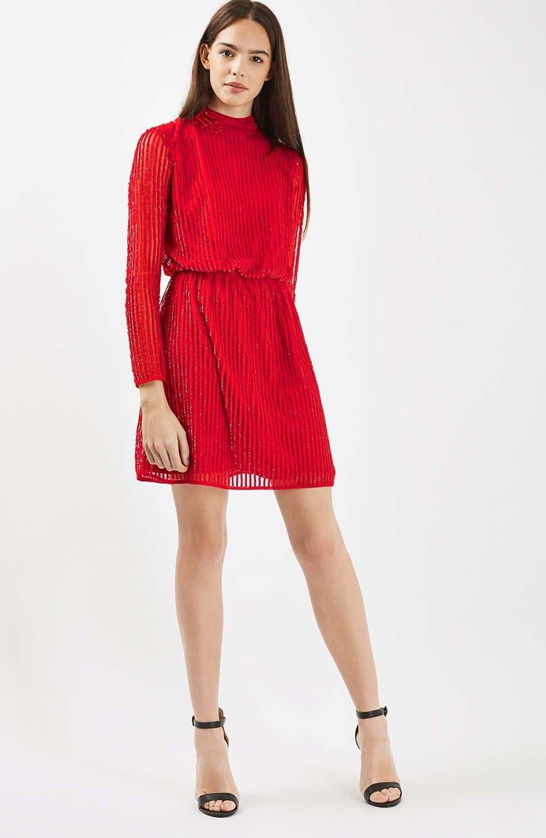 Main Image - Topshop Sequin Blouson Dress