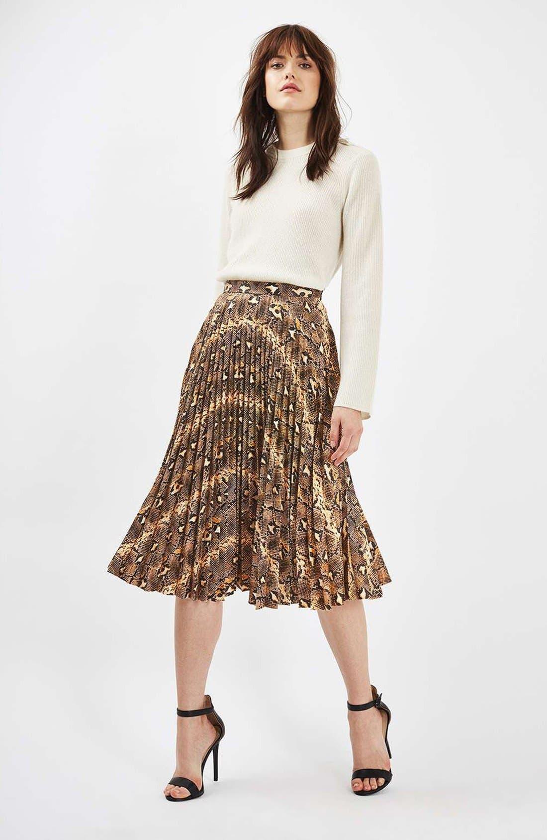 Alternate Image 2  - Topshop Snake Print Pleated Midi Skirt