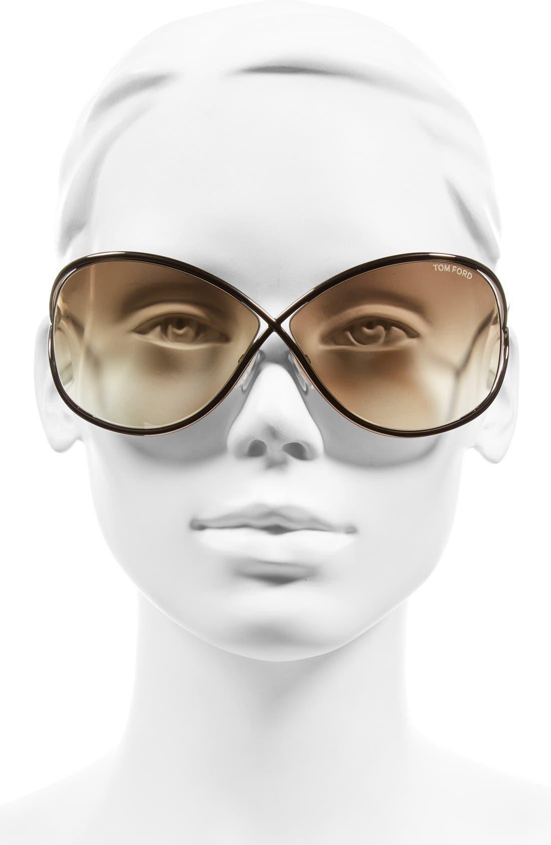 Alternate Image 2  - Tom Ford Miranda 68mm Open Temple Oversize Metal Sunglasses