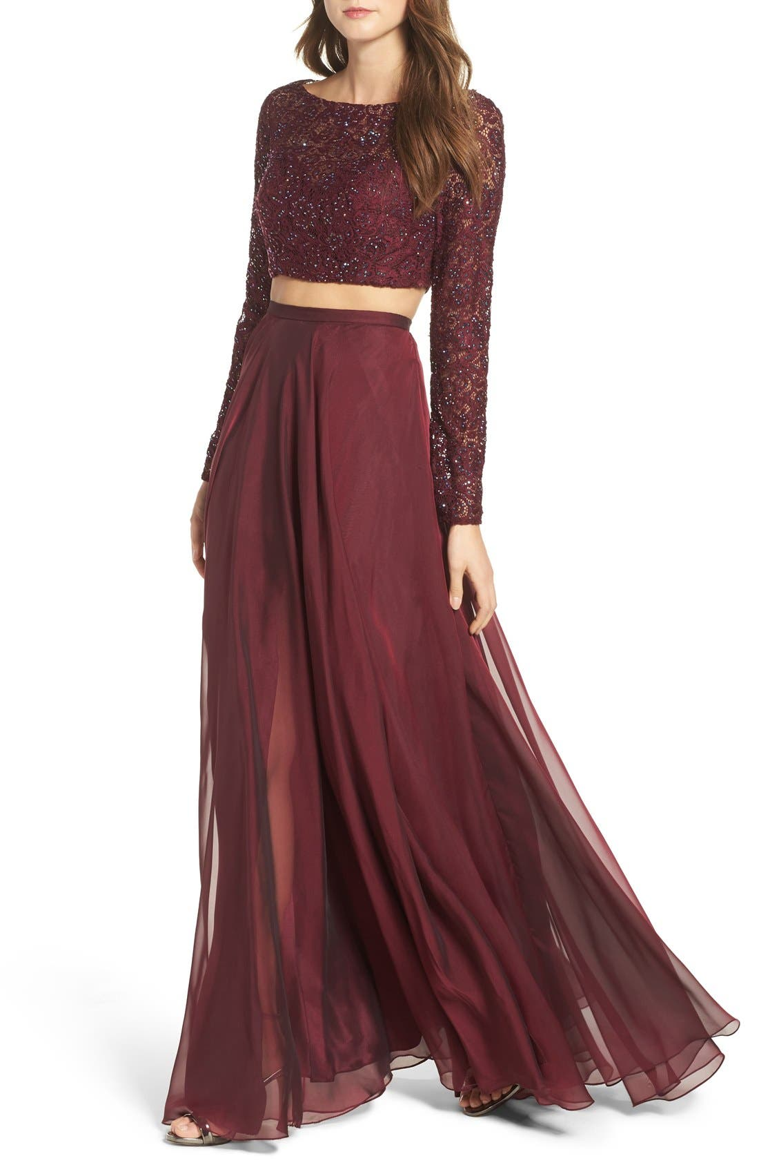 Alternate Image 4  - La Femme Embellished Lace Two-Piece Gown