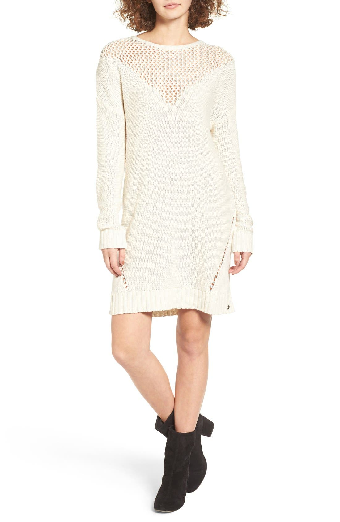 Alternate Image 1 Selected - Roxy Borrowed Time Open Knit Sweater Dress