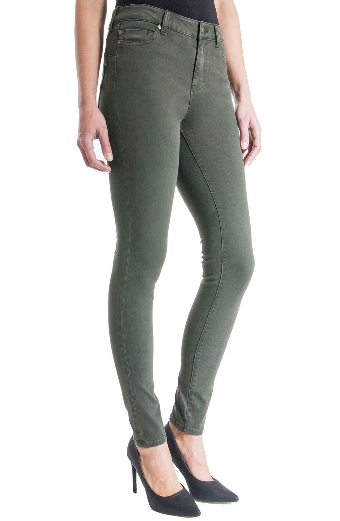 Alternate Image 4  - Liverpool Jeans Company 'The Hugger Aiden' Stretch Skinny Jeans (Cypress Dark Olive)