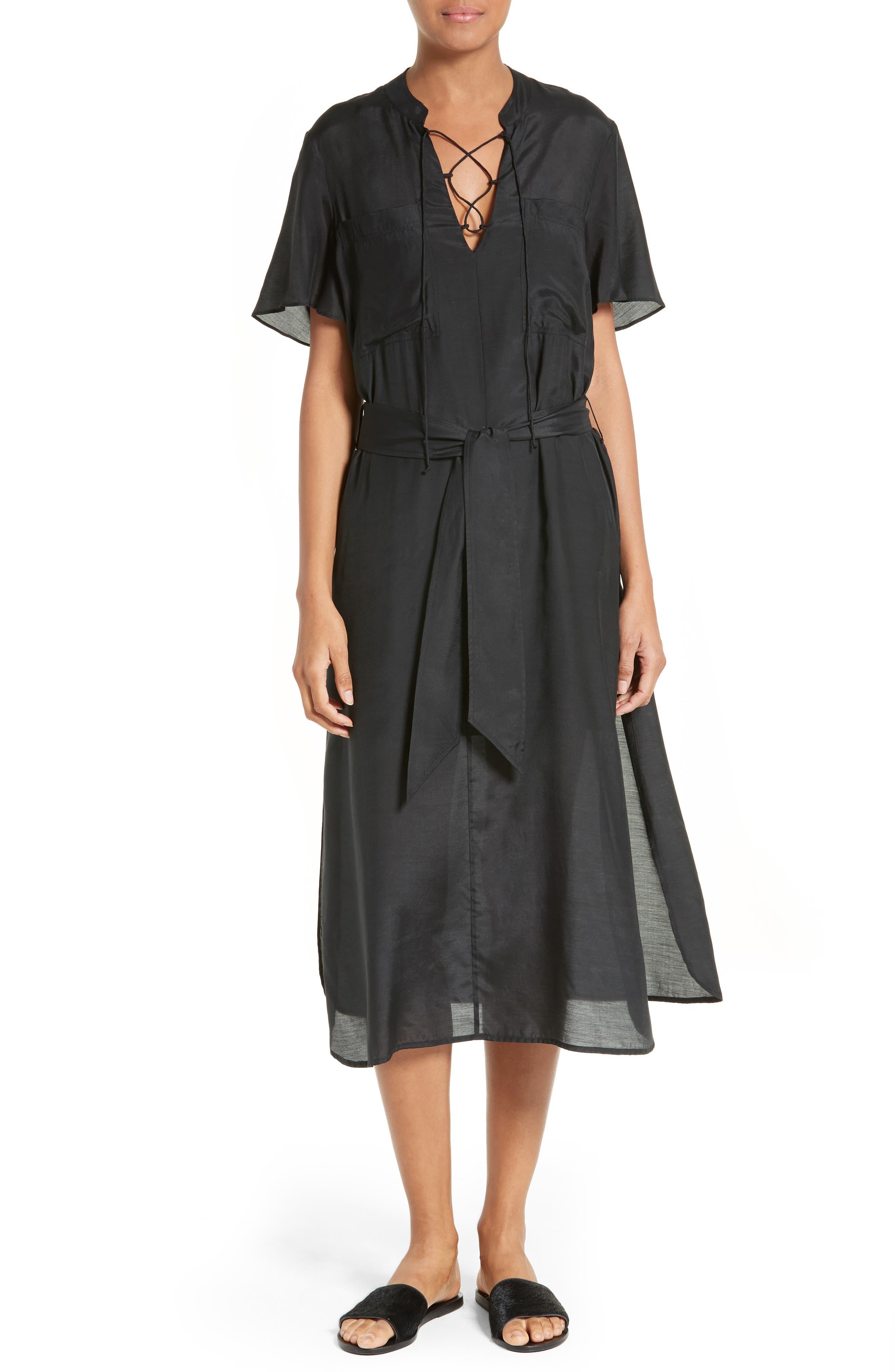 FRAME Lace-Up Midi Dress