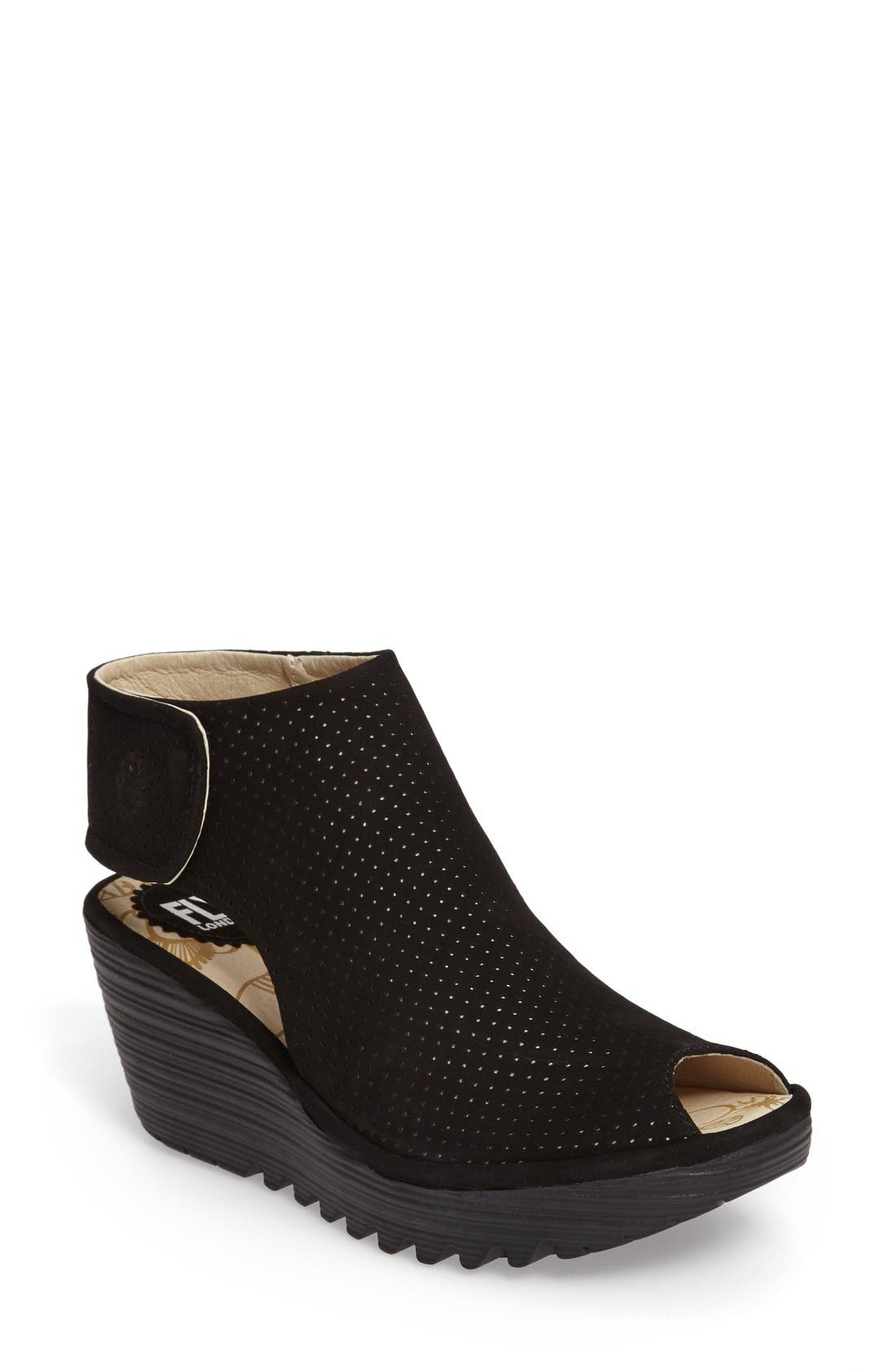 Fly London Yahl Open Toe Platform Wedge (Women)
