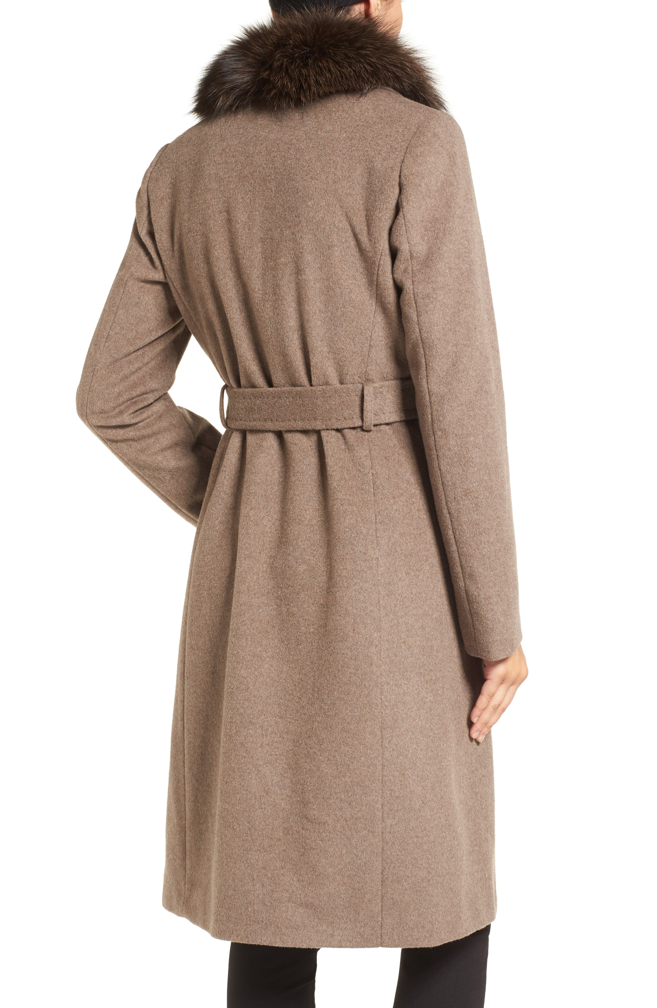 Alternate Image 2  - Ellen Tracy Genuine Fox Collar Wool Blend Long Wrap Coat