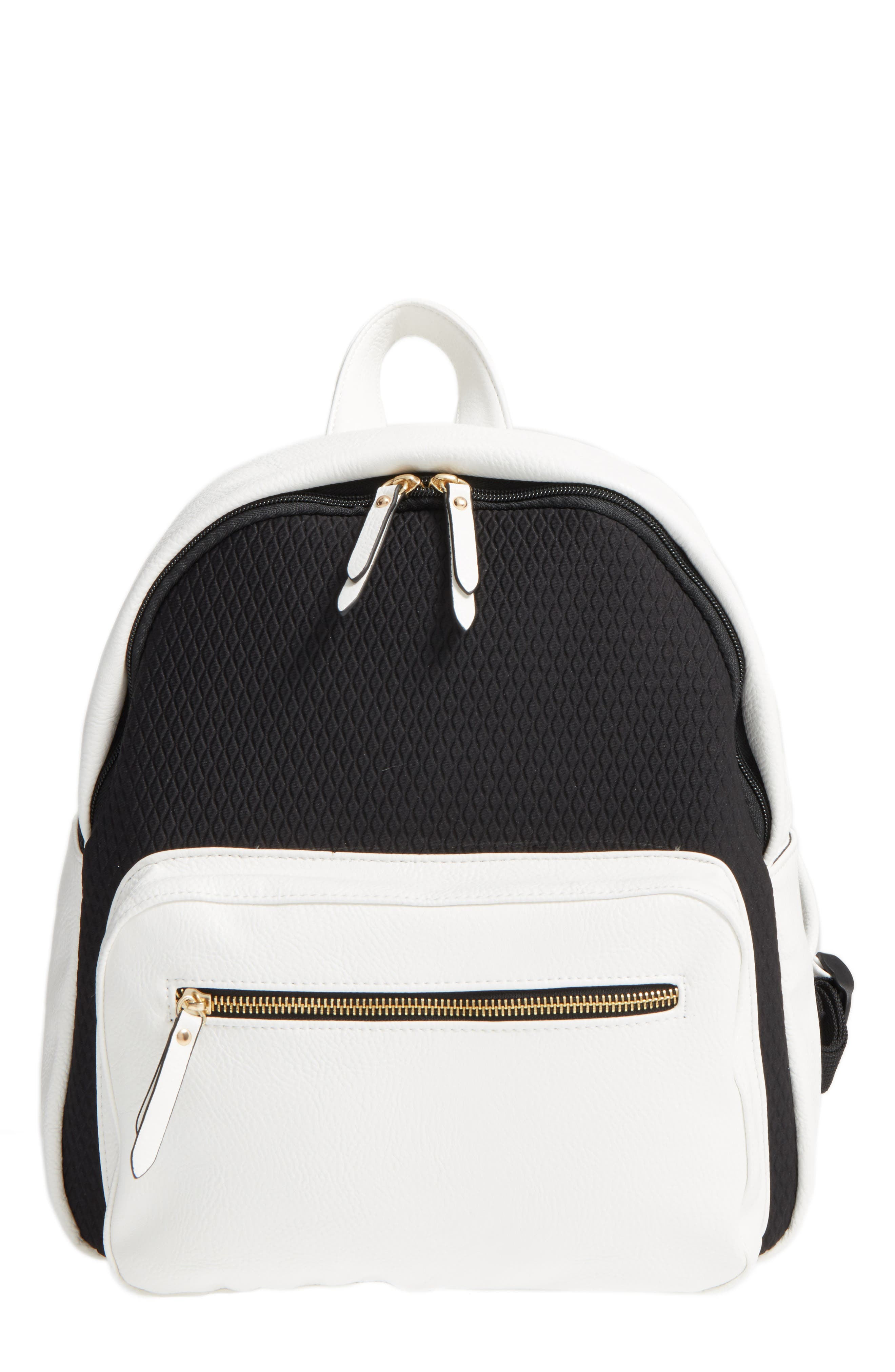 Main Image - POVERTY FLATS by rian Faux Leather & Neoprene Backpack