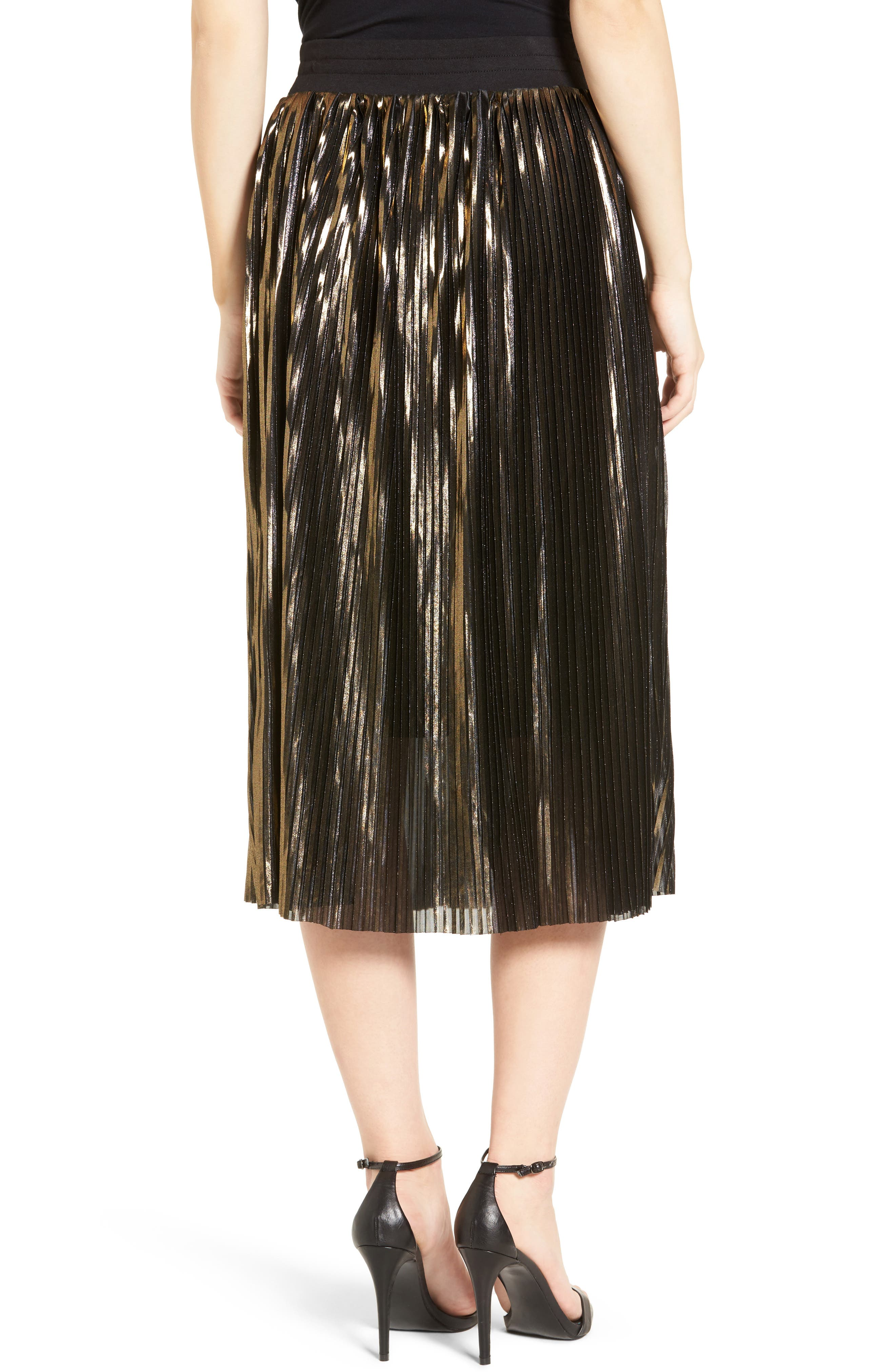 Alternate Image 2  - Trouvé Shine Pleat Midi Skirt