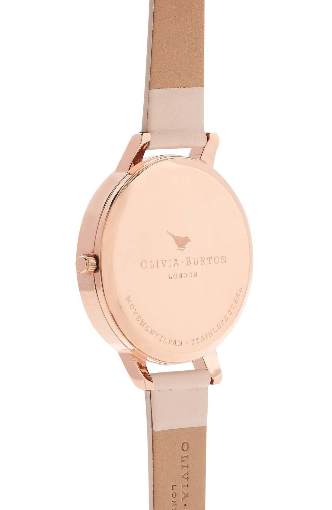 Alternate Image 2  - Olivia Burton Big Dial Leather Strap Watch, 38mm