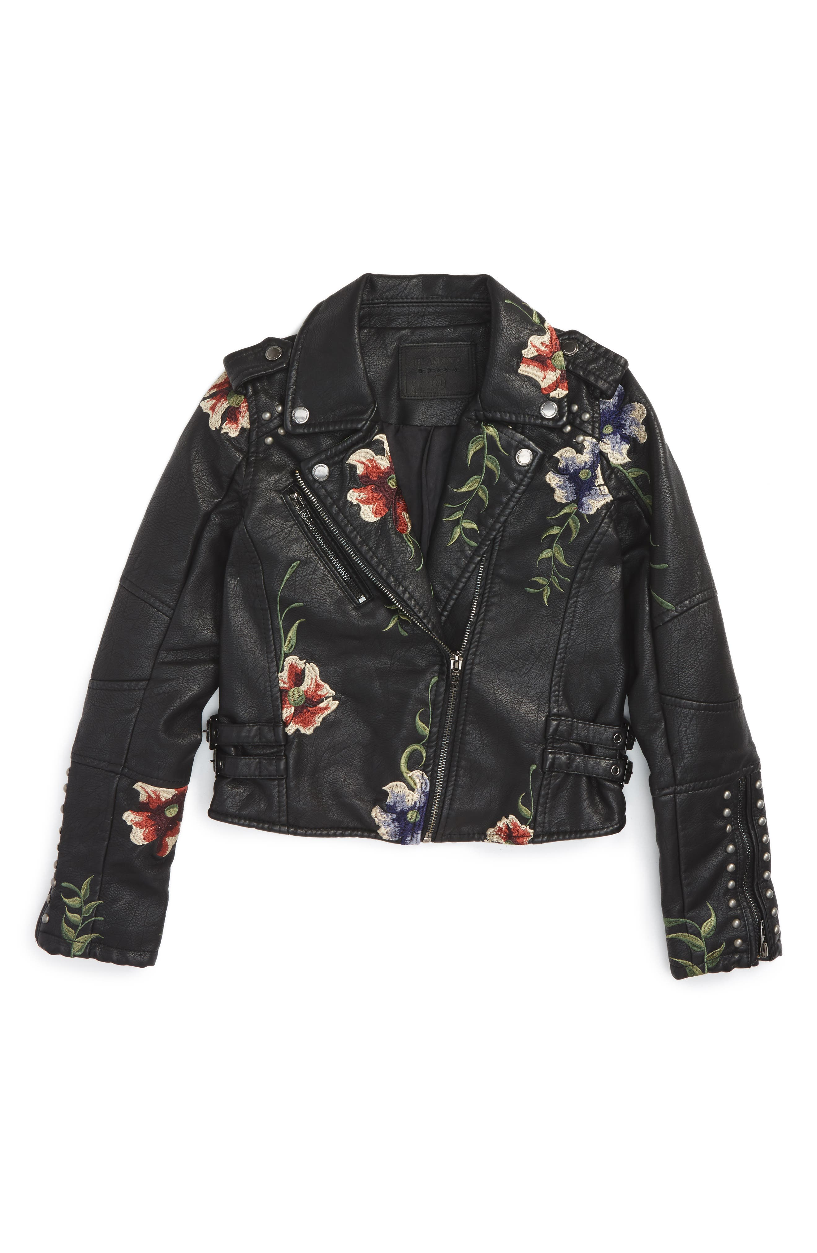 BLANKNYC Embroidered Faux Leather Moto Jacket Big Girls