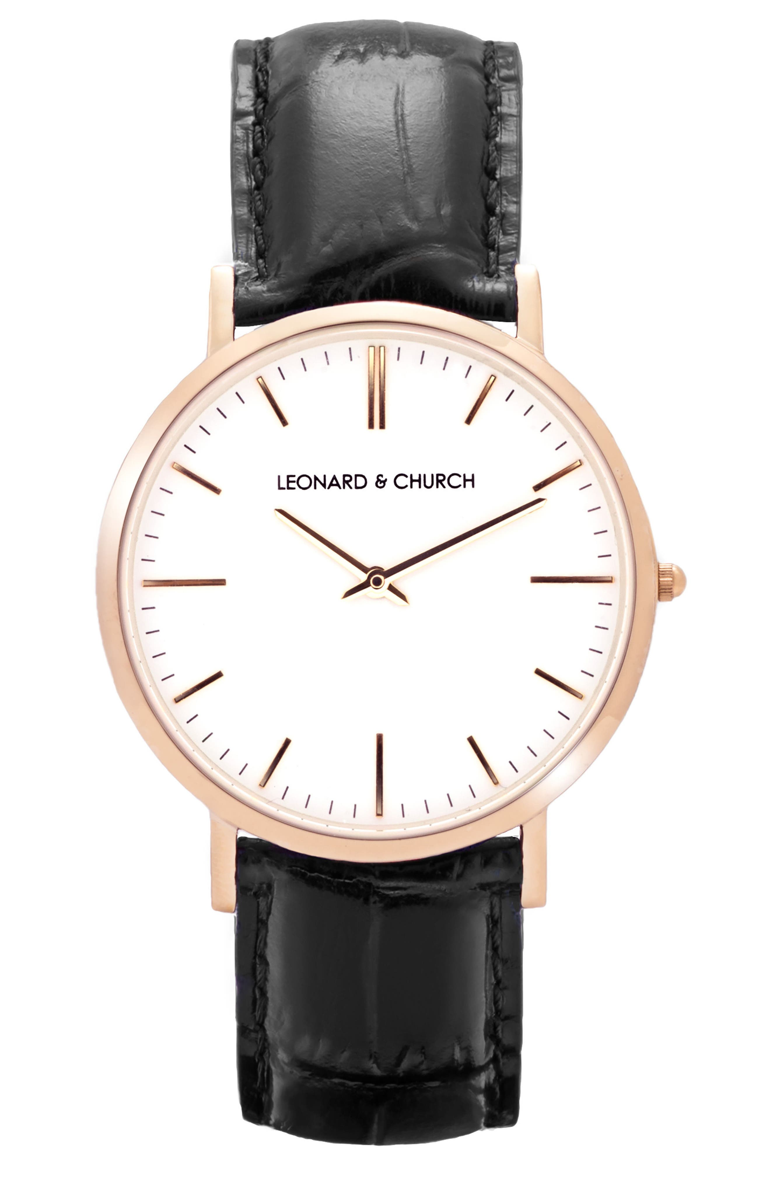 Leonard & Church Broadway Leather Strap Watch, 40mm