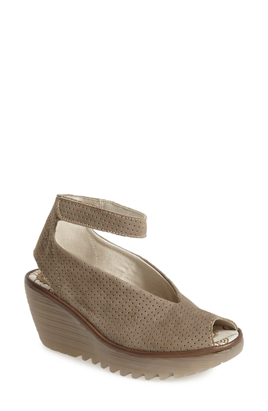Fly London 'Yala' Perforated Leather Sandal