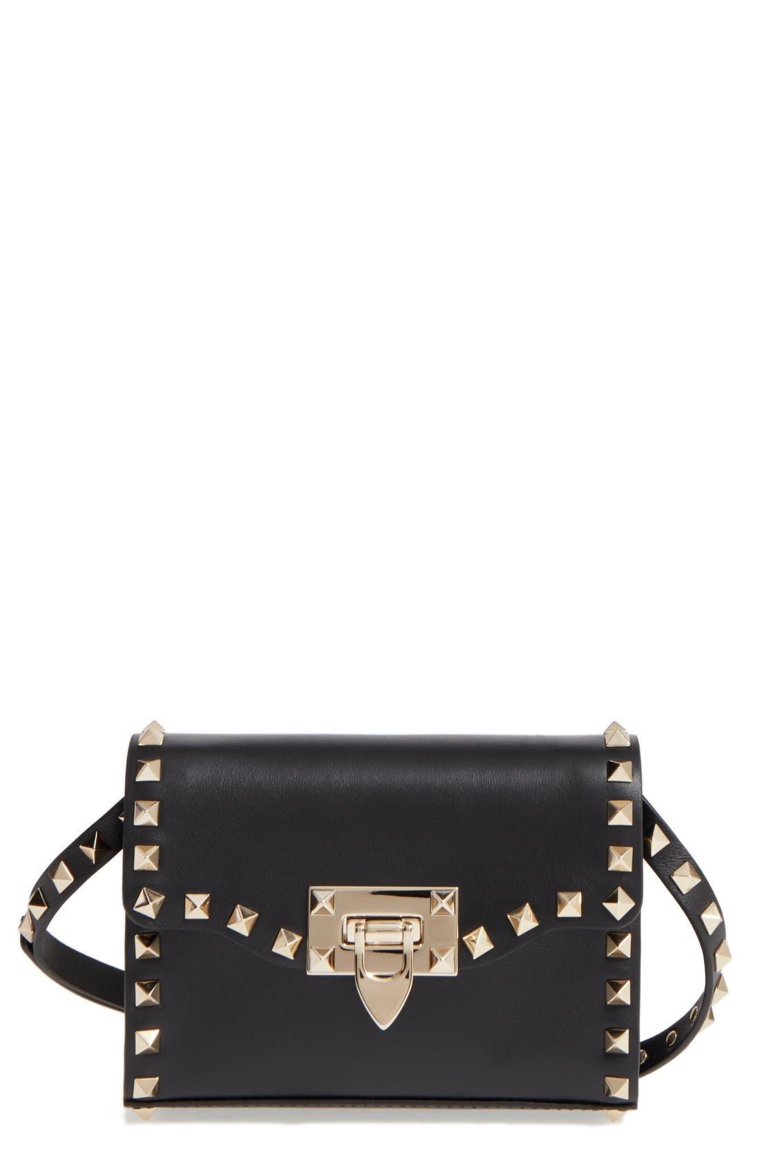 Main Image - Valentino Small Rockstud Leather Shoulder Bag