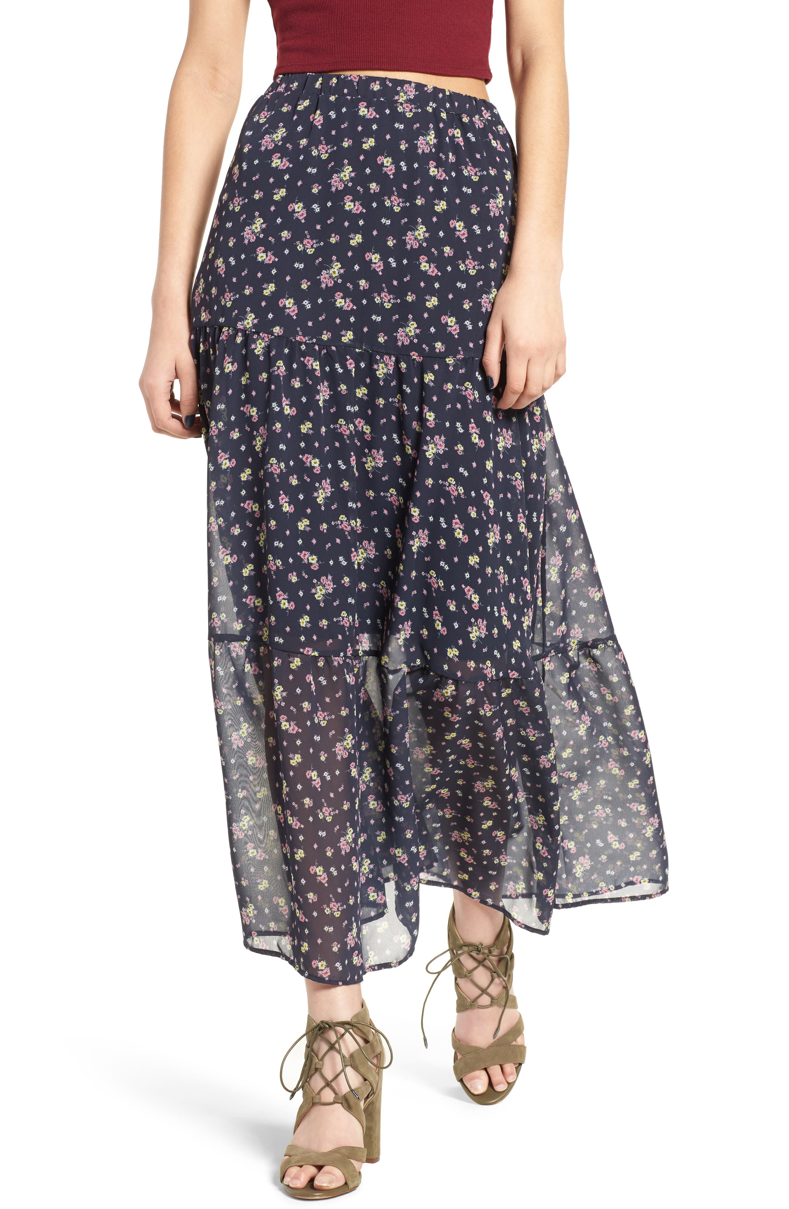 Alternate Image 1 Selected - BP. Floral Print Maxi Skirt